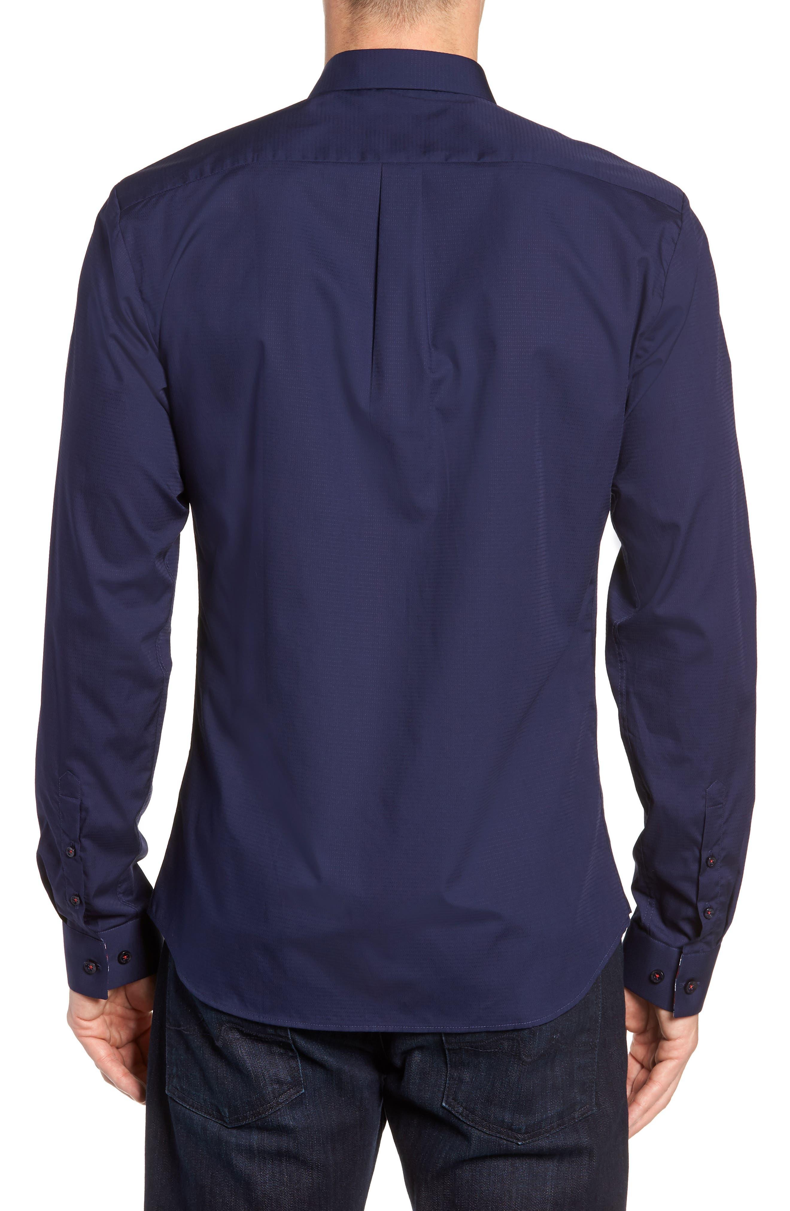 Trim Fit Sport Shirt,                             Alternate thumbnail 3, color,                             Navy Blue