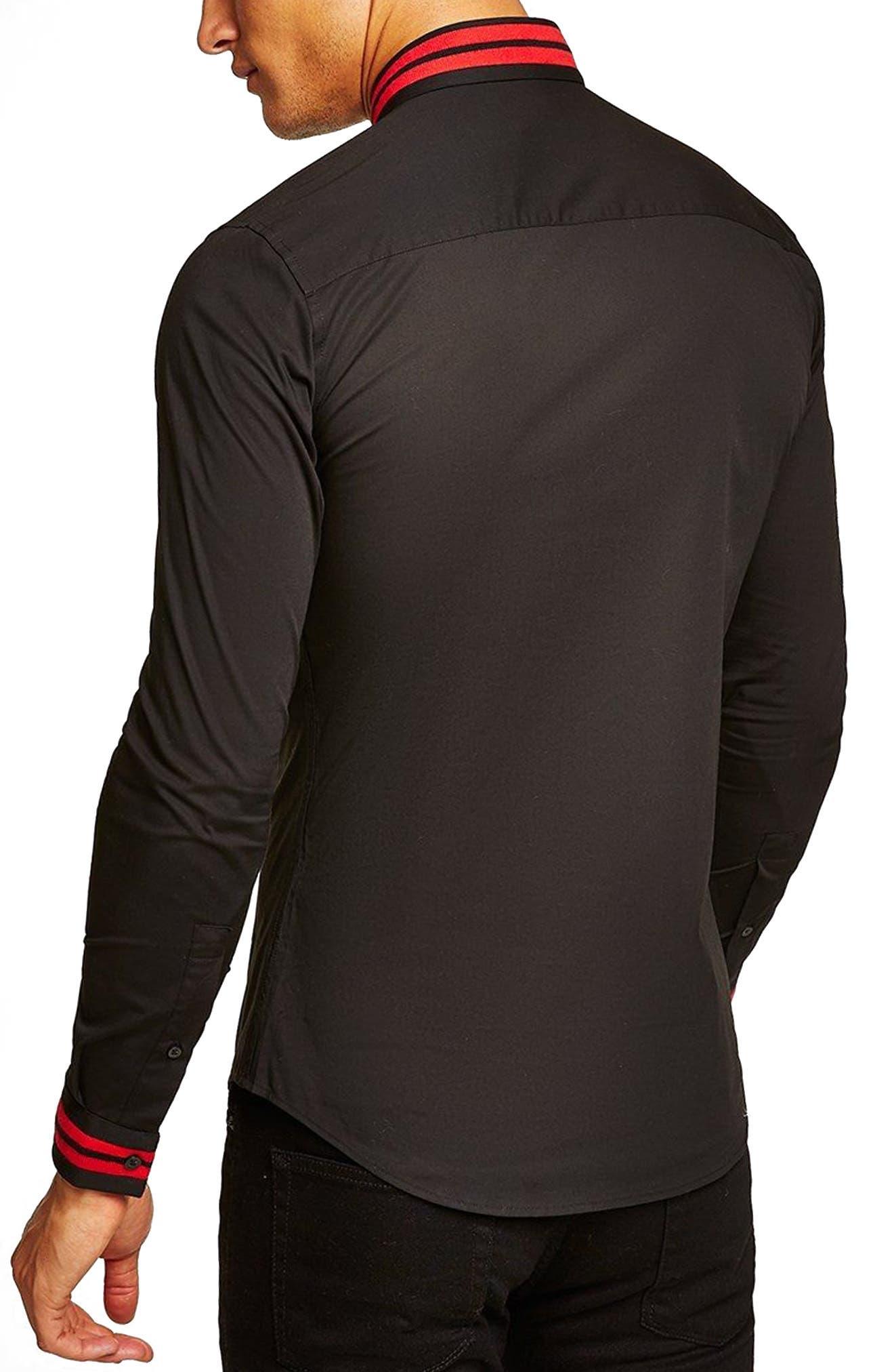 Muscle Fit Stripe Collar Shirt,                             Alternate thumbnail 2, color,                             Black Multi