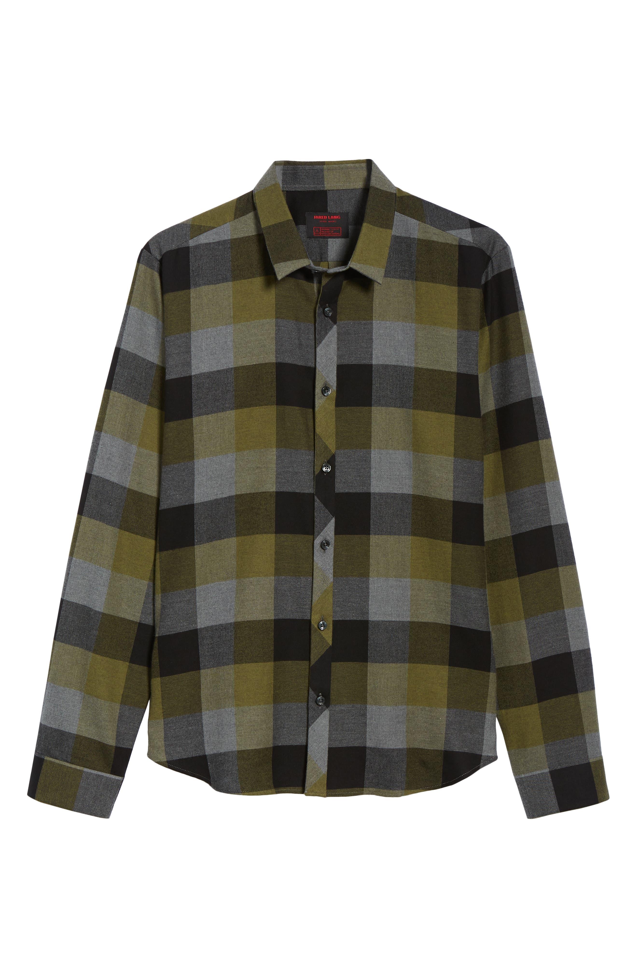 Check Sport Shirt,                             Alternate thumbnail 5, color,                             Olive Green Check