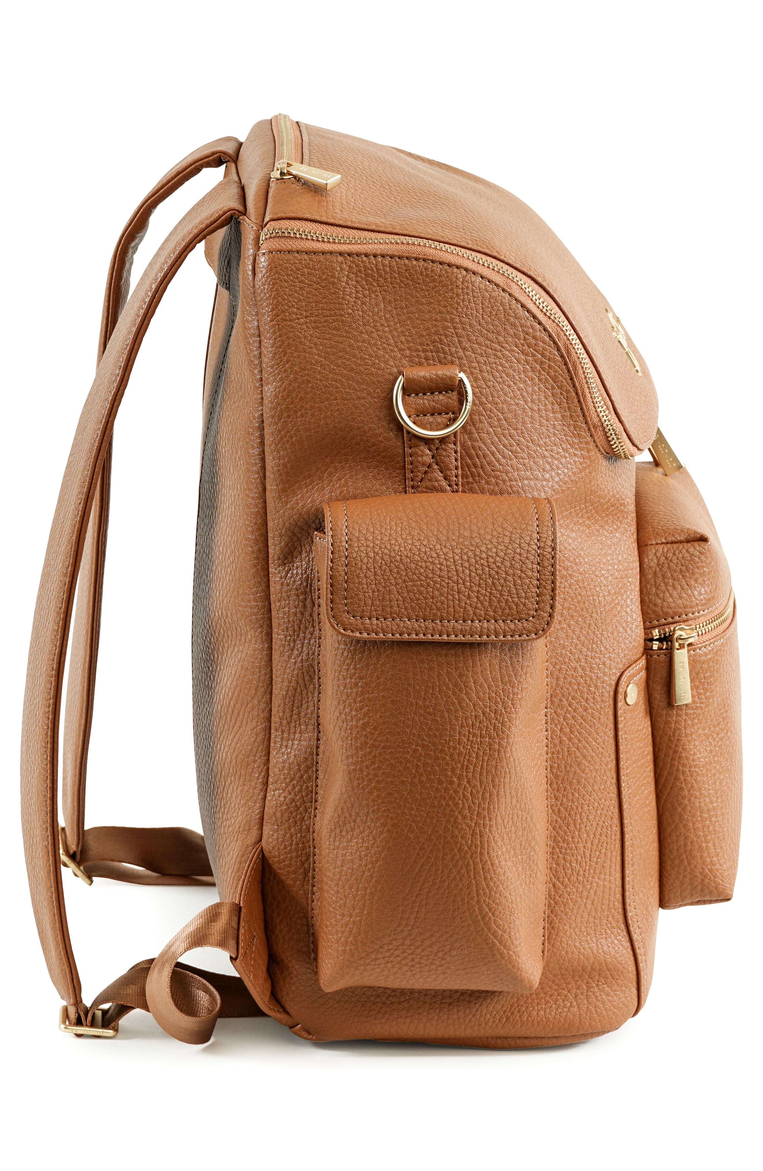 Ever Collection Forever Faux Leather Diaper Backpack,                             Alternate thumbnail 4, color,                             Brulee