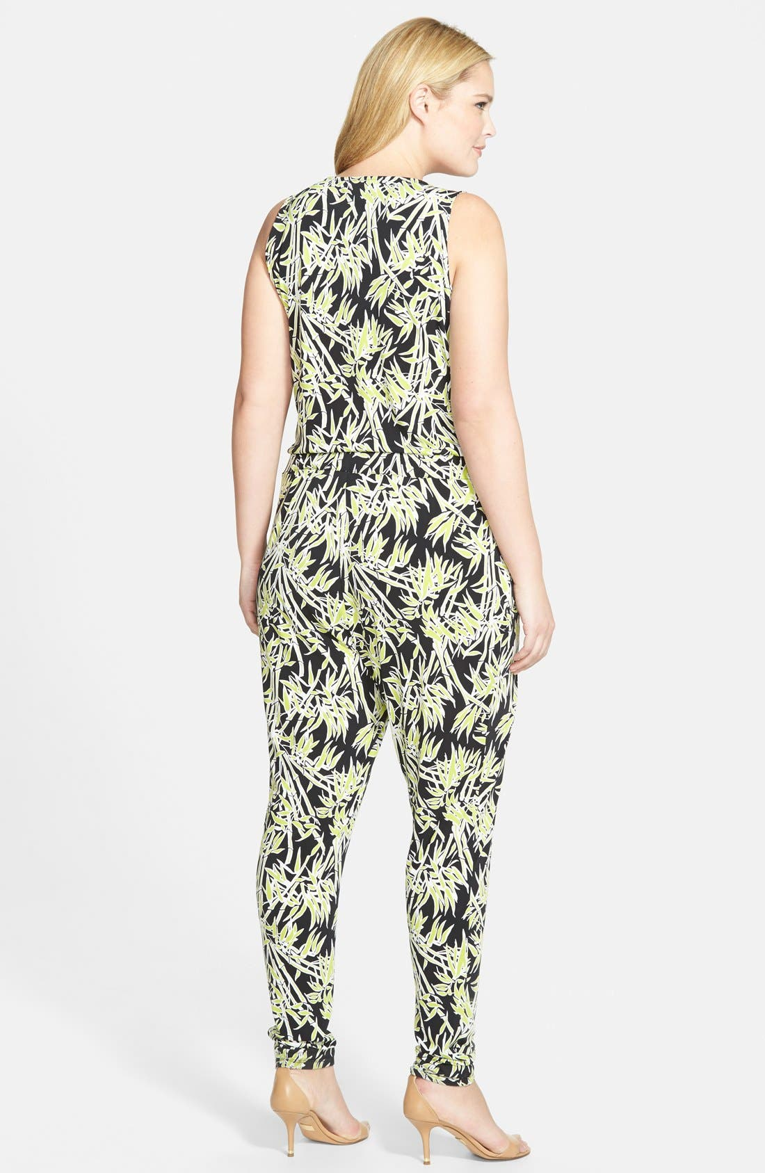 Bamboo Print Surplice Jersey Jumpsuit,                             Alternate thumbnail 2, color,                             Pear