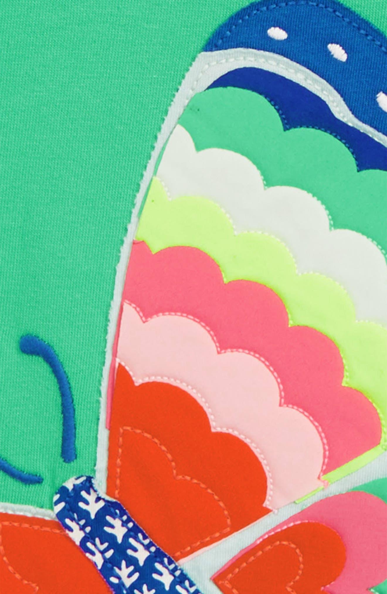 Summer Interest Butterfly Appliqué Tee,                             Alternate thumbnail 2, color,                             Peppermint Green Butterfly