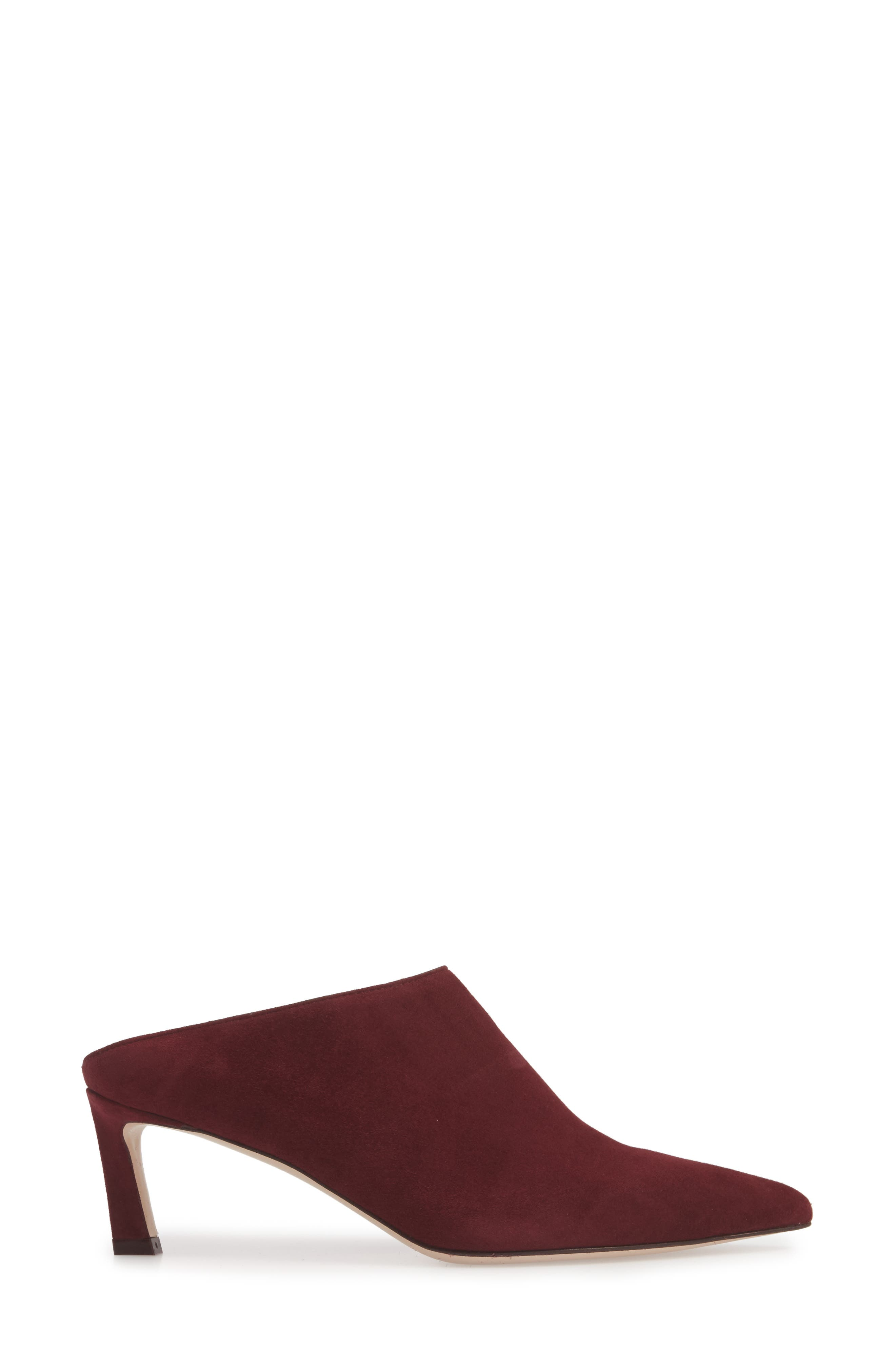 Mira Pointy Toe Mule,                             Alternate thumbnail 5, color,                             Cabernet Suede