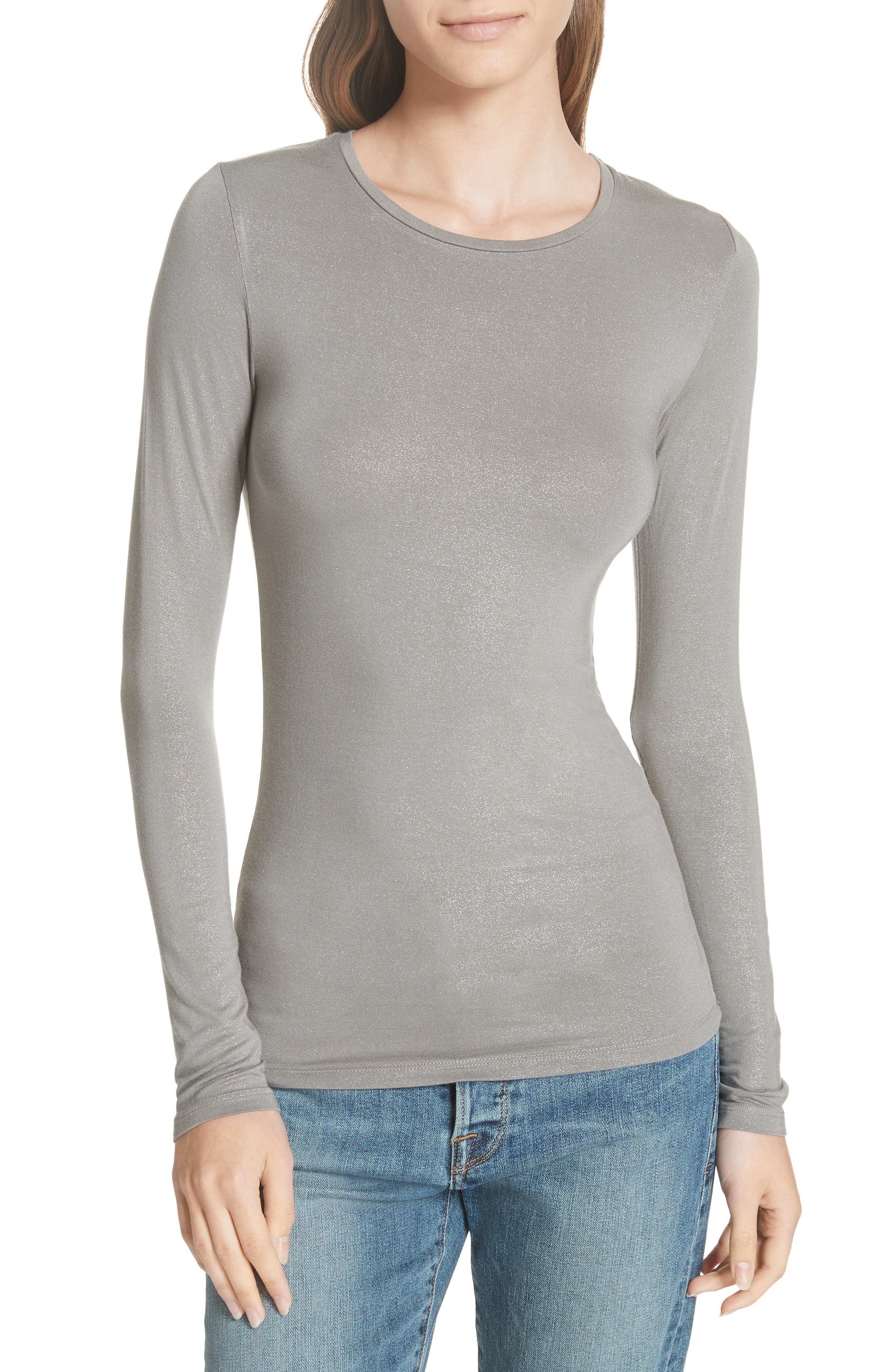 Metallic Long Sleeve Tee,                         Main,                         color, Metal Antic Silver