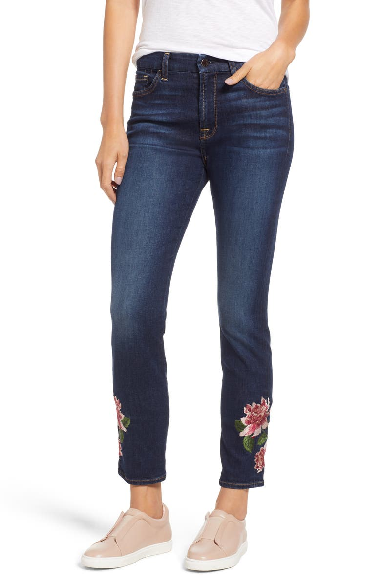 Embroidered Ankle Skinny Jeans