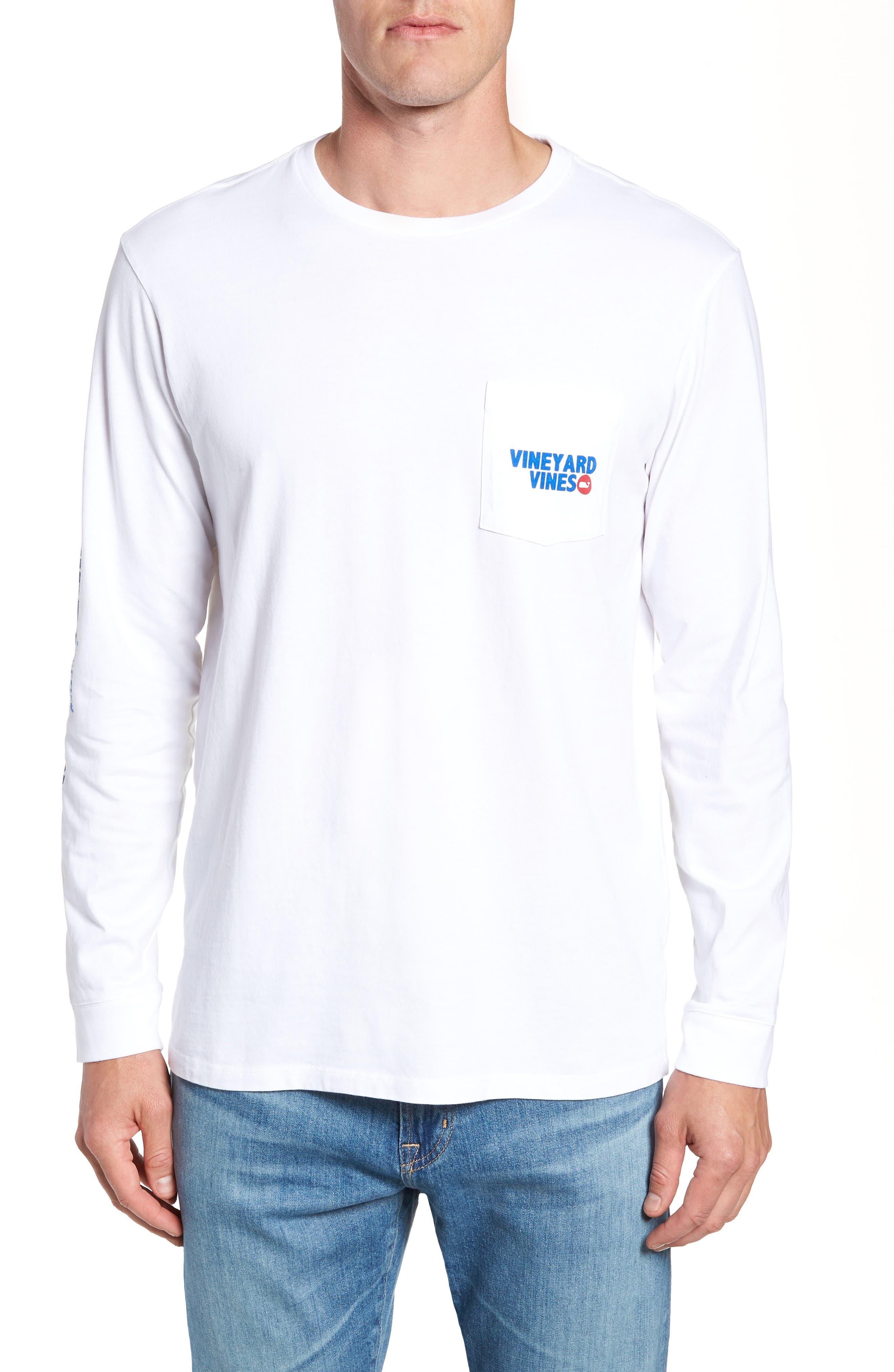 RW&B Story Graphic Long Sleeve Pocket T-Shirt,                         Main,                         color, White Cap
