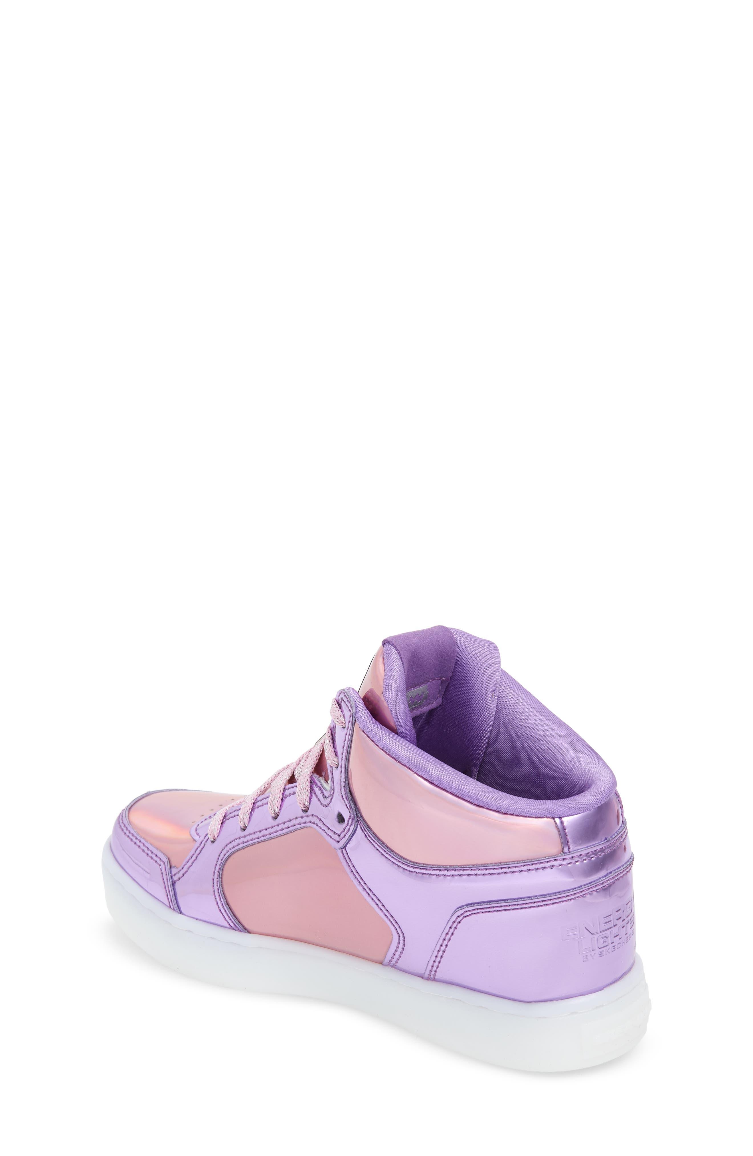 Energy Lights Metallic High Top Sneaker,                             Alternate thumbnail 2, color,                             Pink/ Purple