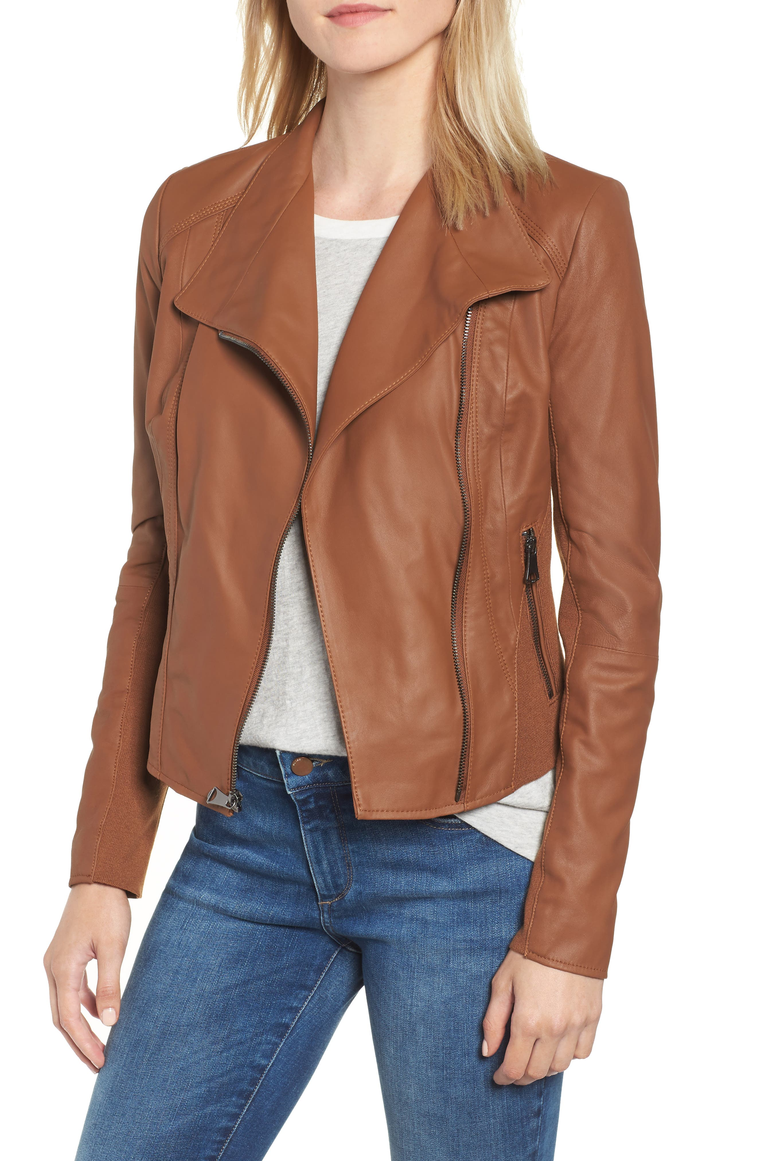 Marc New York by Andrew Marc 'Felix' Stand Collar Leather Jacket,                             Main thumbnail 1, color,                             Whiskey