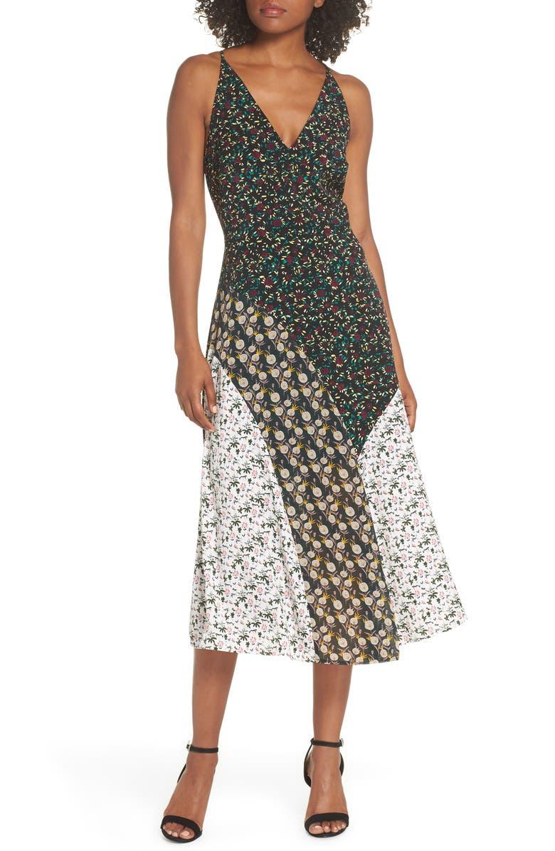 Mixed Floral Print Midi Dress