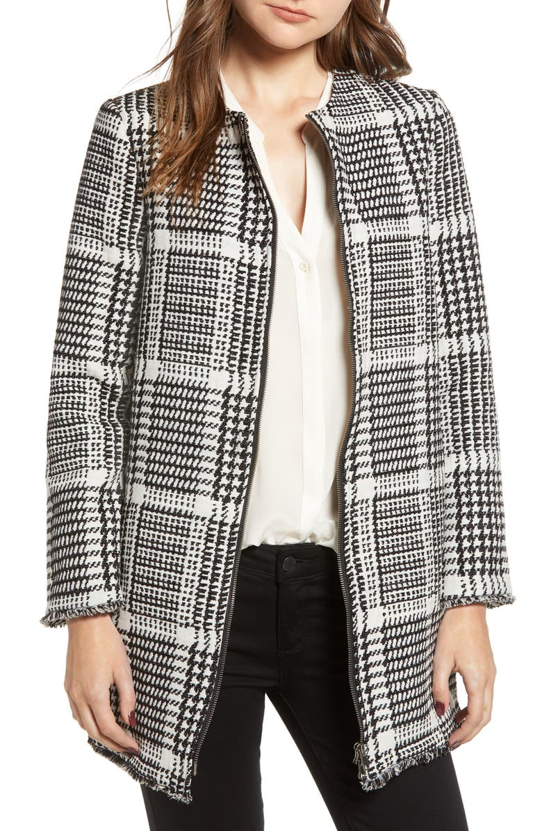 Fernando Herringbone Plaid Coat