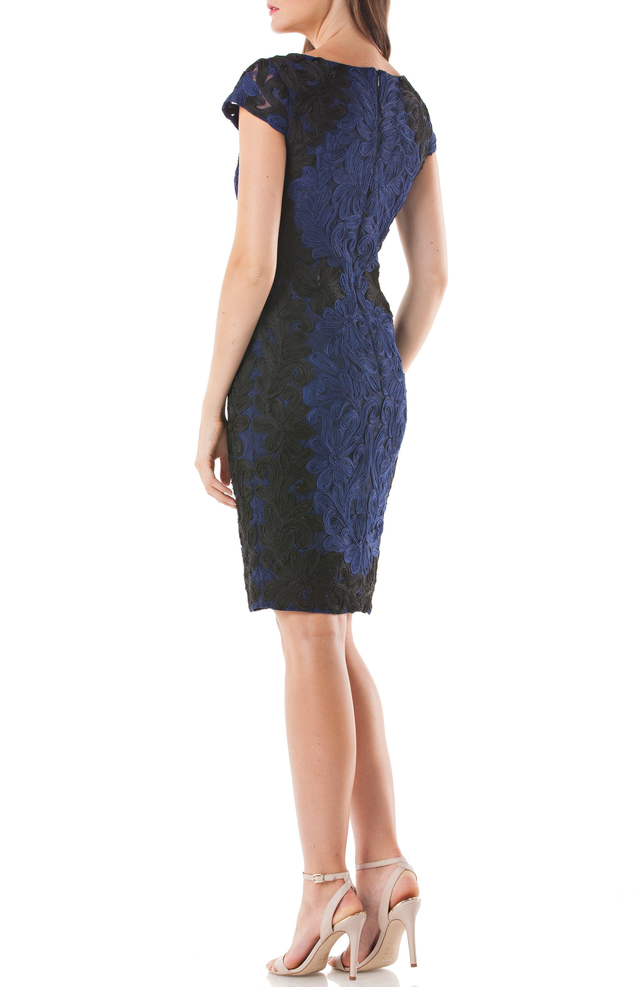 Contrast Soutache Sheath Dress,                             Alternate thumbnail 2, color,                             Cobalt/ Black