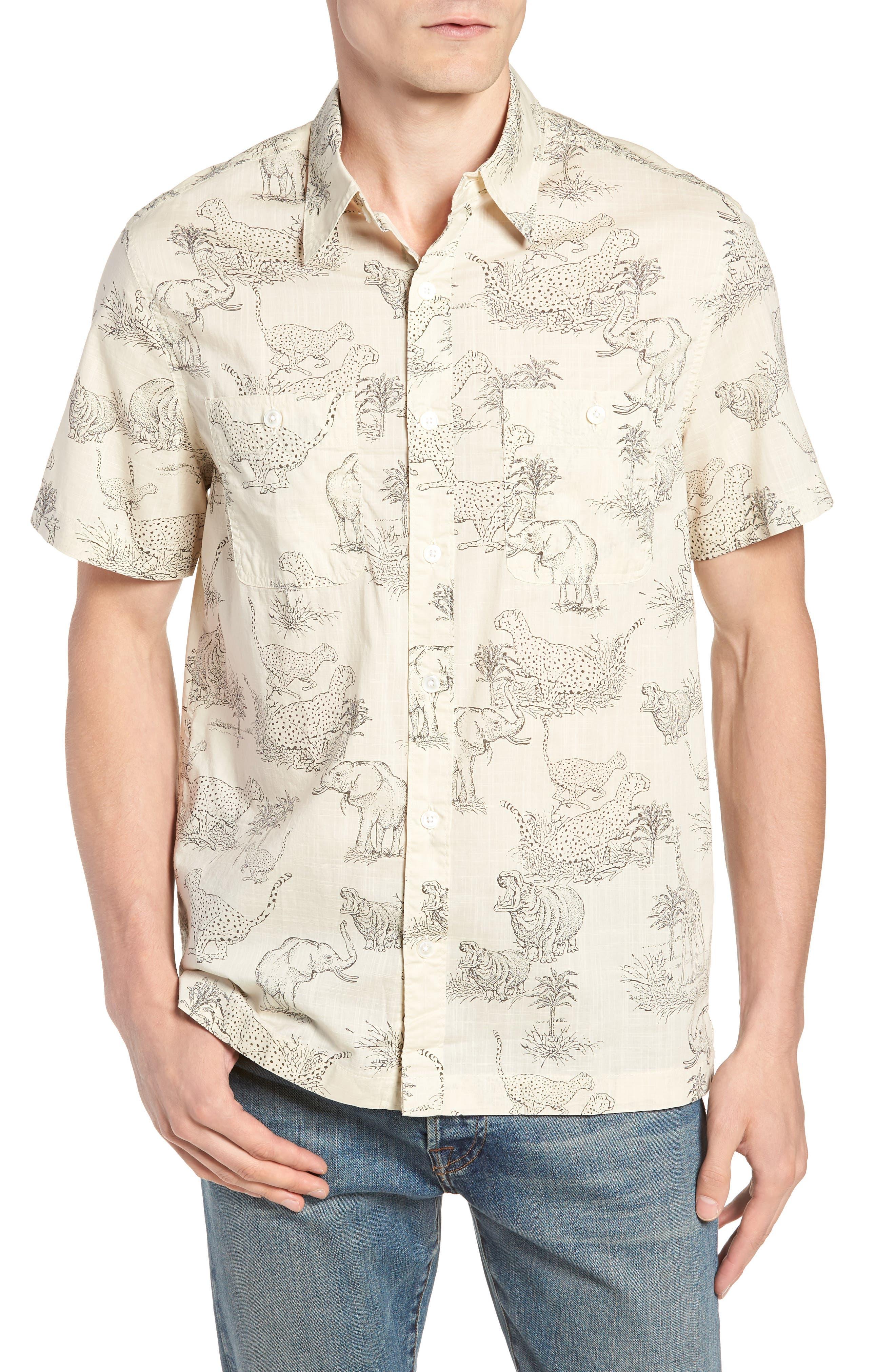 Regular Fit Safari Print Sport Shirt,                             Main thumbnail 1, color,                             Ecru