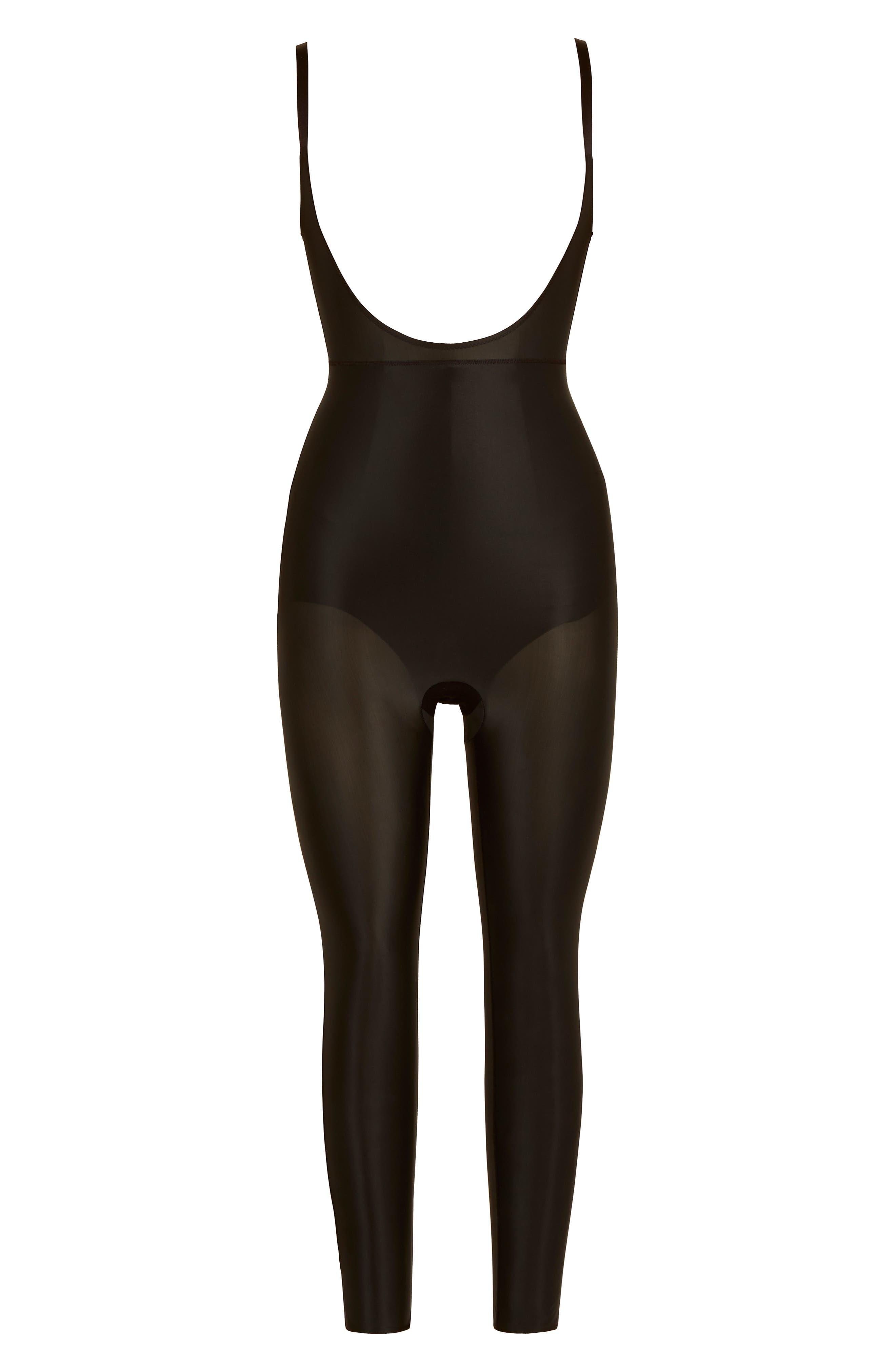 Suit Your Fancy Open-Bust Shaper Catsuit,                             Alternate thumbnail 4, color,                             Very Black