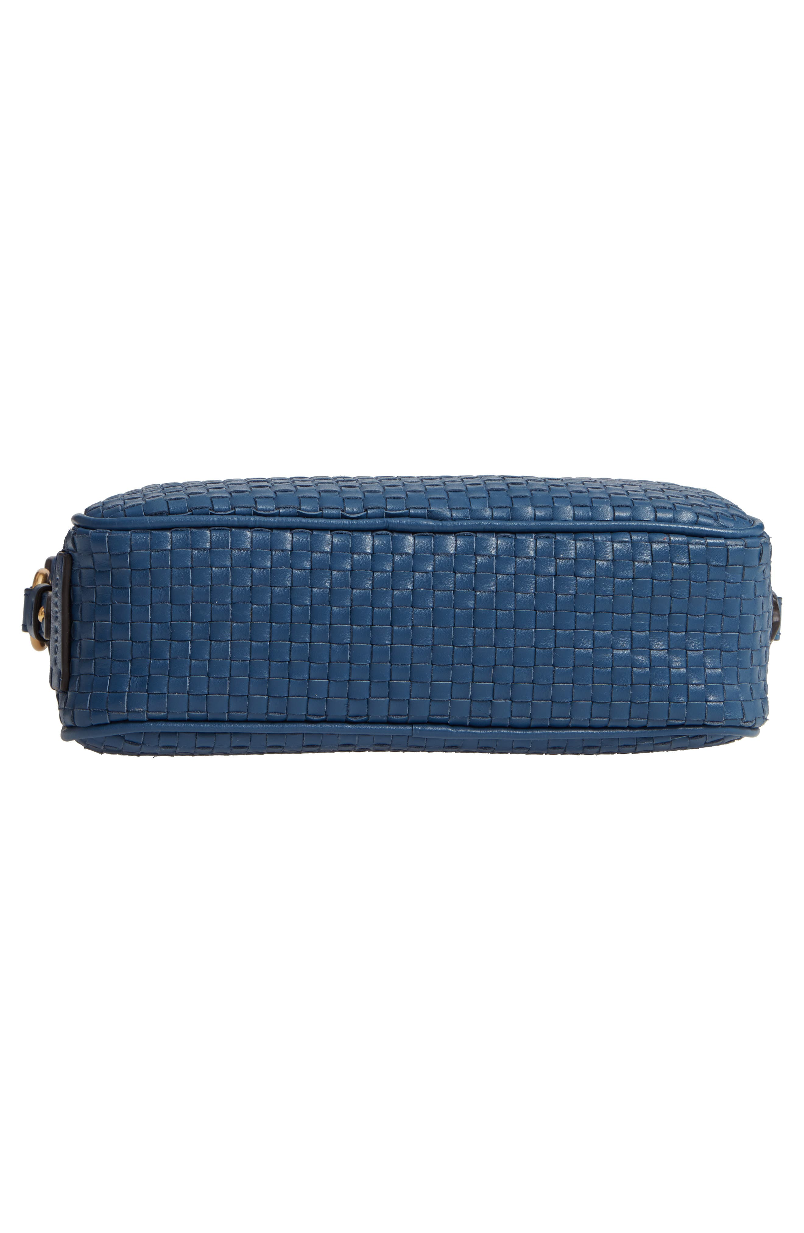 Zoe RFID Woven Leather Camera Bag,                             Alternate thumbnail 4, color,                             Navy Peony