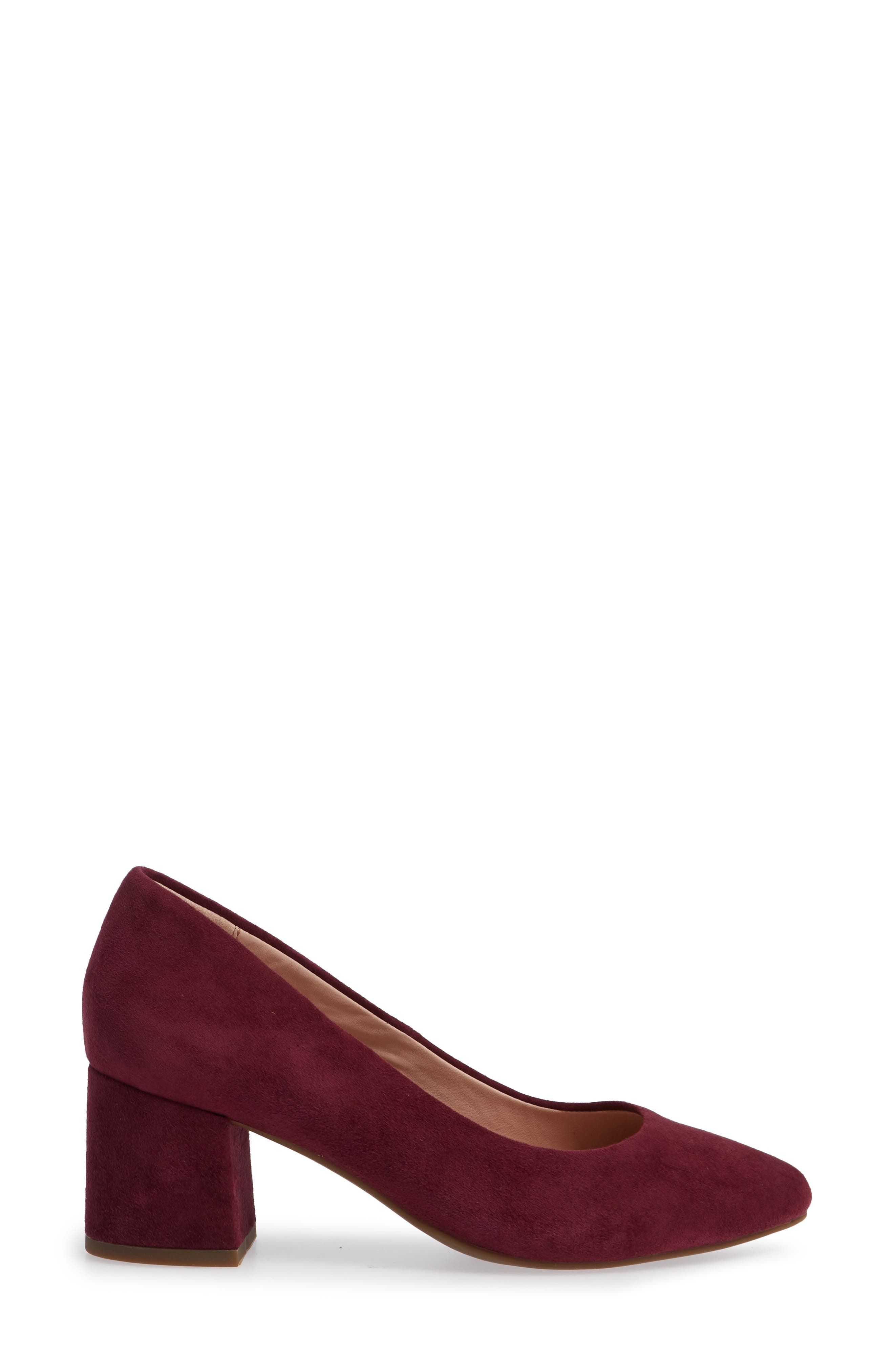 Rochelle Block Heel Pump,                             Alternate thumbnail 3, color,                             Fig Suede