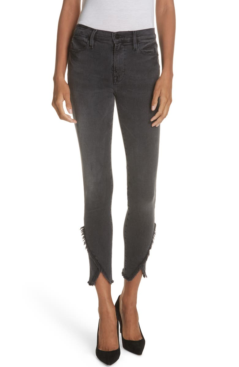 Le High Skinny Asymmetrical Raw Hem Jeans