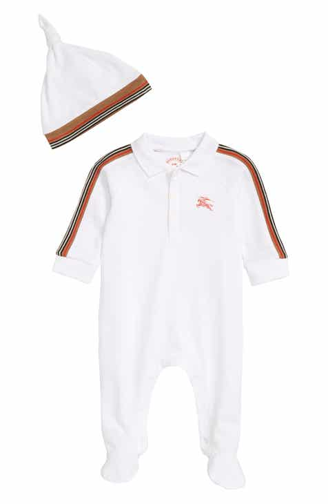 5f377272c34 Burberry Heritage Stripe Footed Romper   Hat Set (Baby Boys)