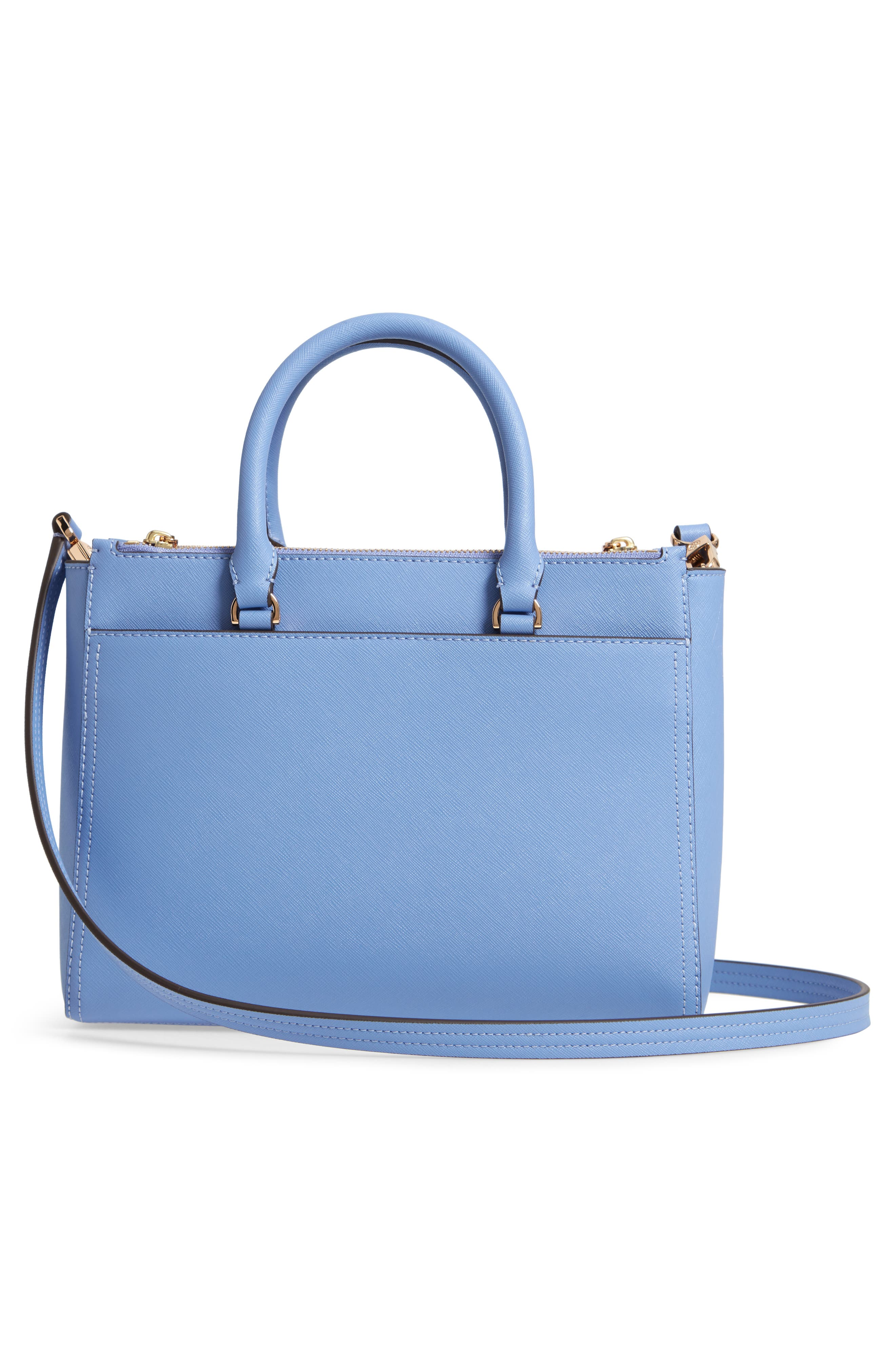Small Robinson Double-Zip Leather Tote,                             Alternate thumbnail 6, color,                             Bow Blue