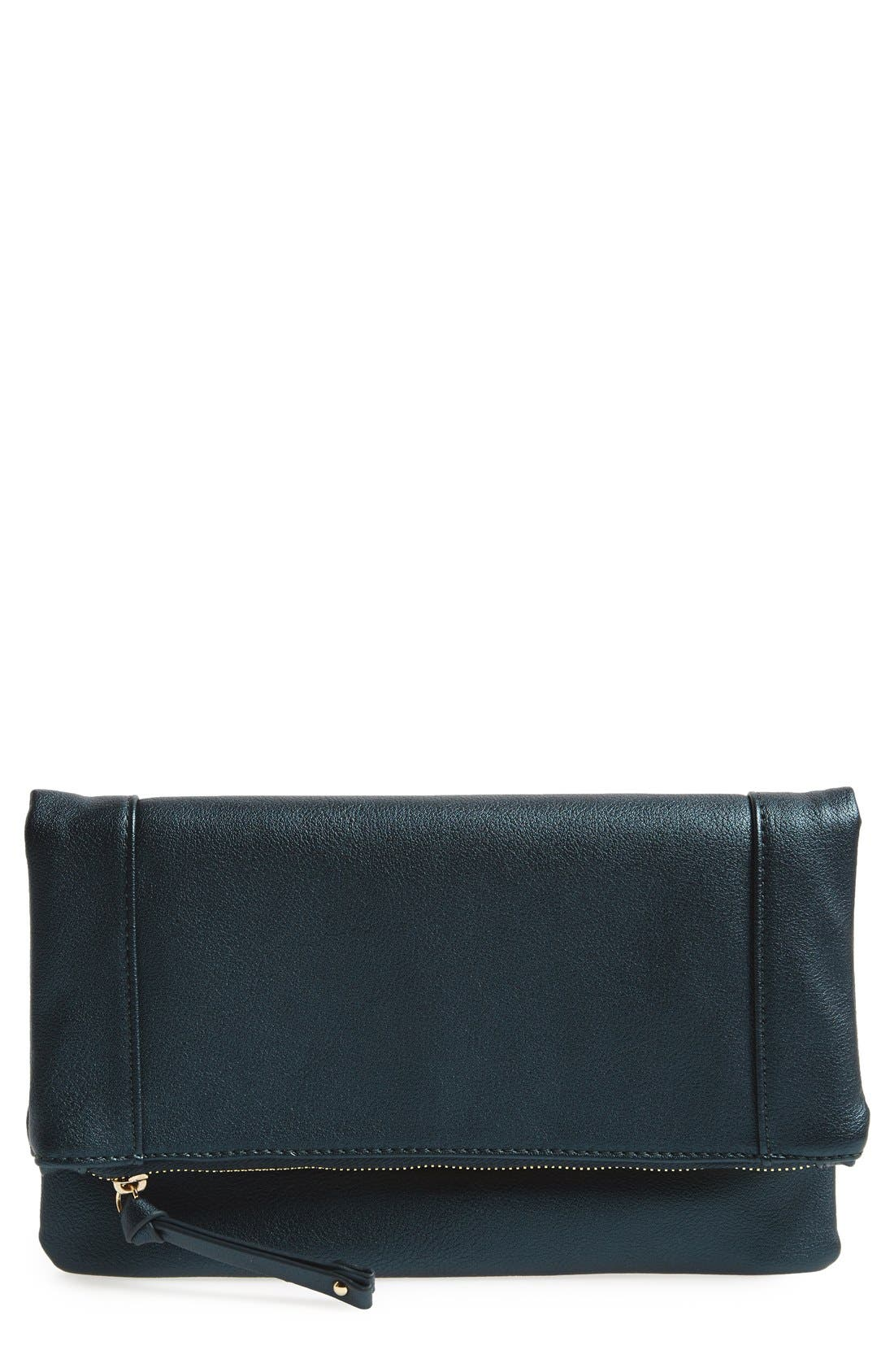 'Marlena' Faux Leather Foldover Clutch,                             Main thumbnail 1, color,                             Deep Teal