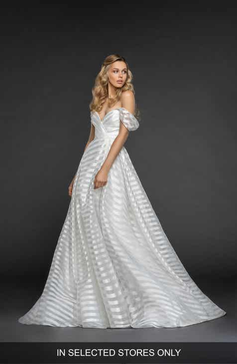 22bbd613ea4 Hayley Paige Harley Stripe Off the Shoulder Organza Gown