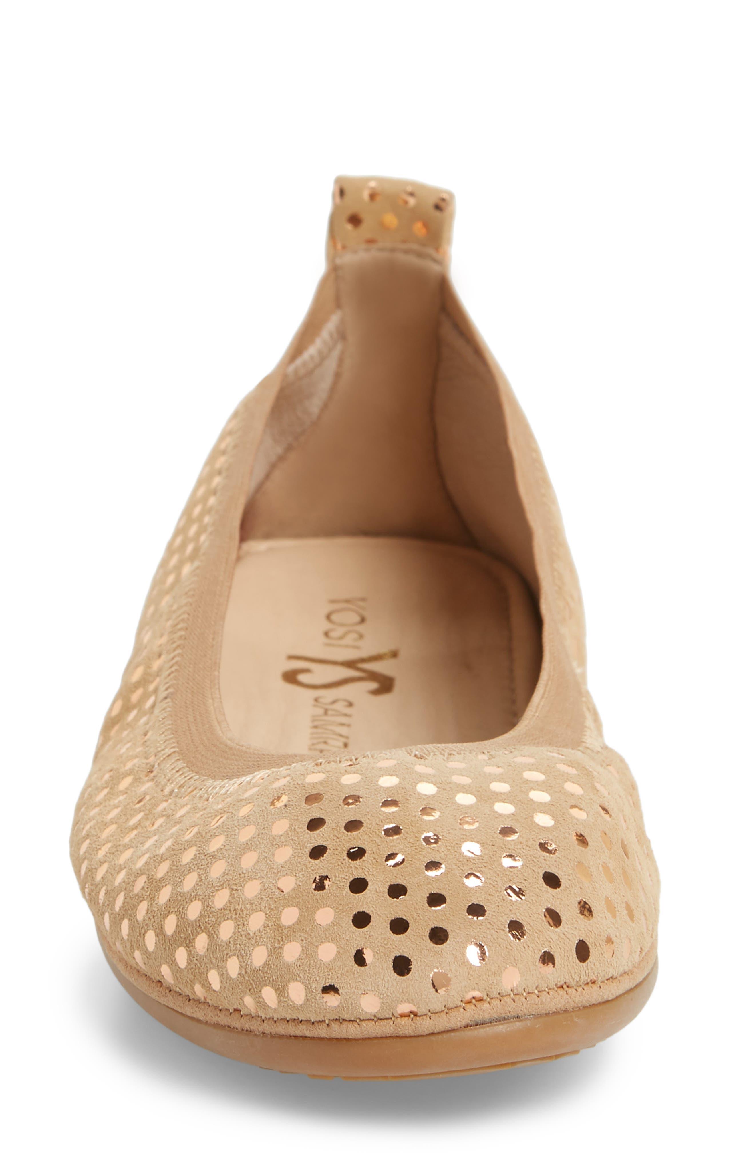 Samara Foldable Ballet Flat,                             Alternate thumbnail 4, color,                             Latte Suede