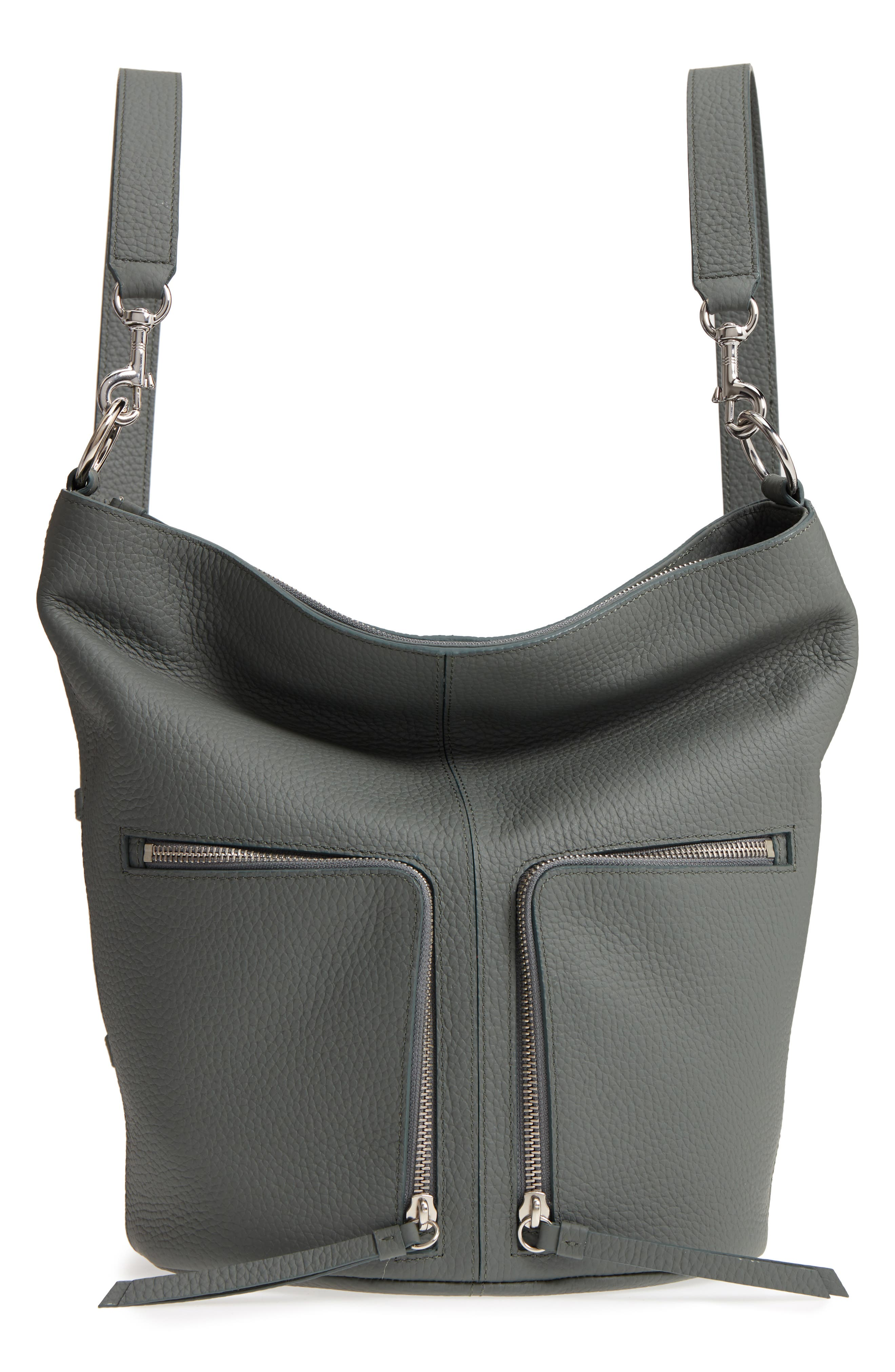 SMALL FETCH LEATHER BACKPACK - GREY