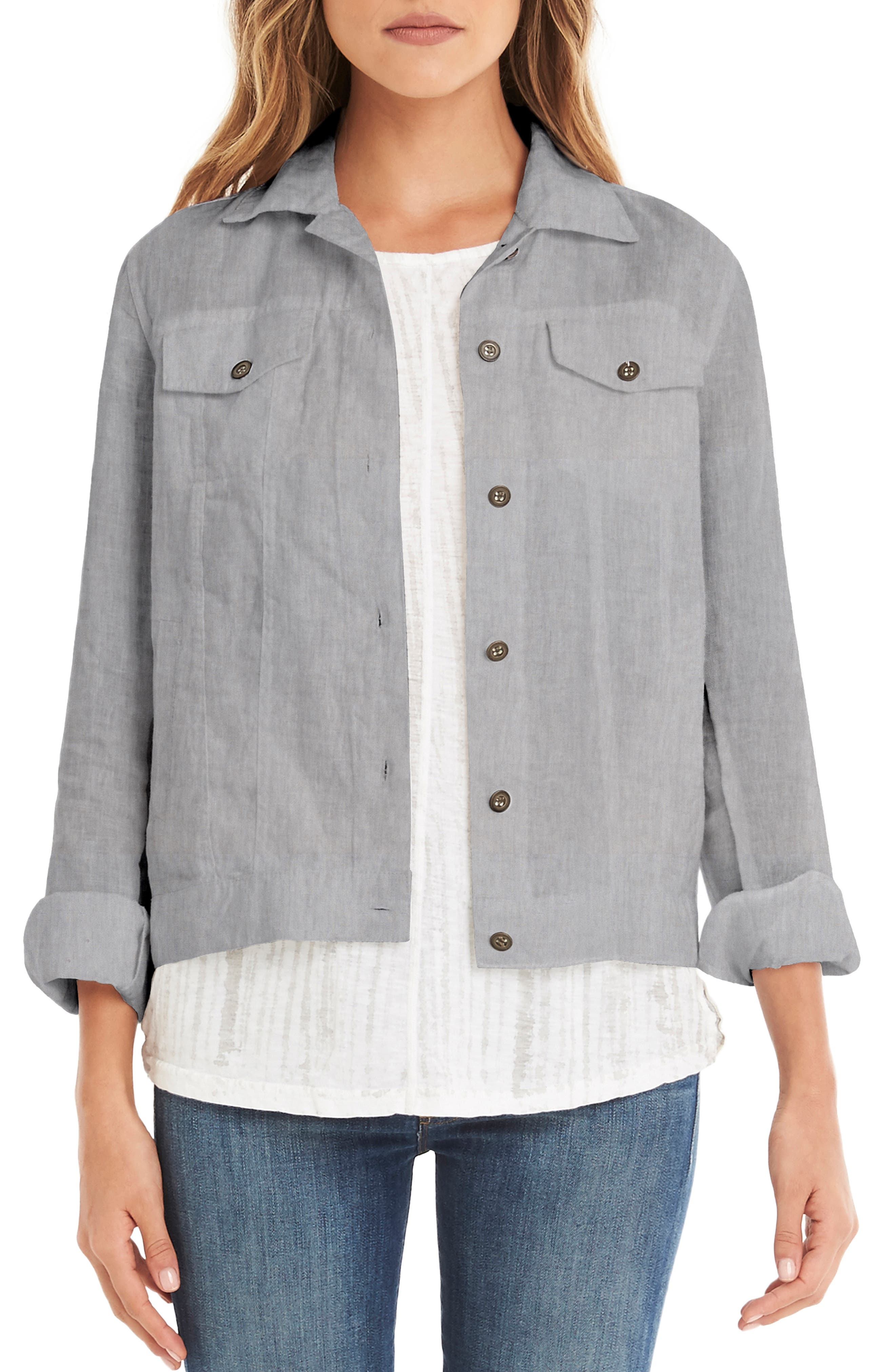Linen Denim Jacket,                             Main thumbnail 1, color,                             Galvanized