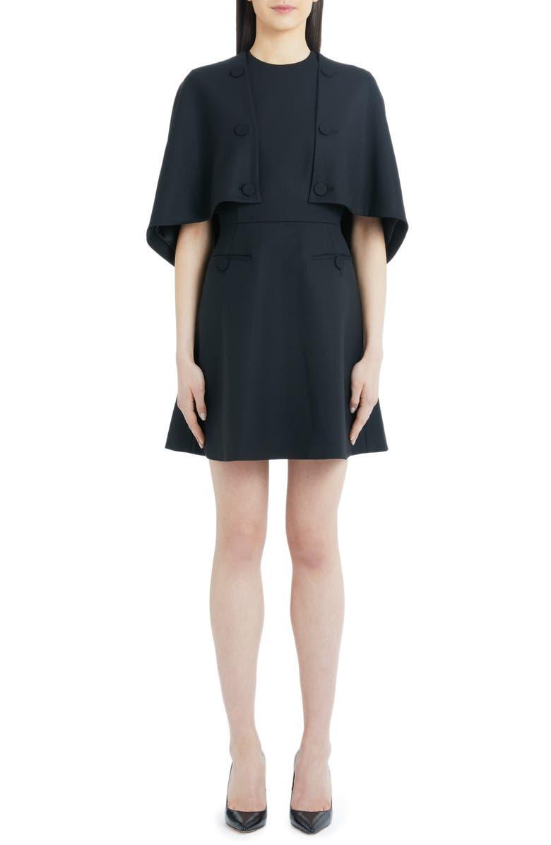 Cape Detail Stretch Wool Dress