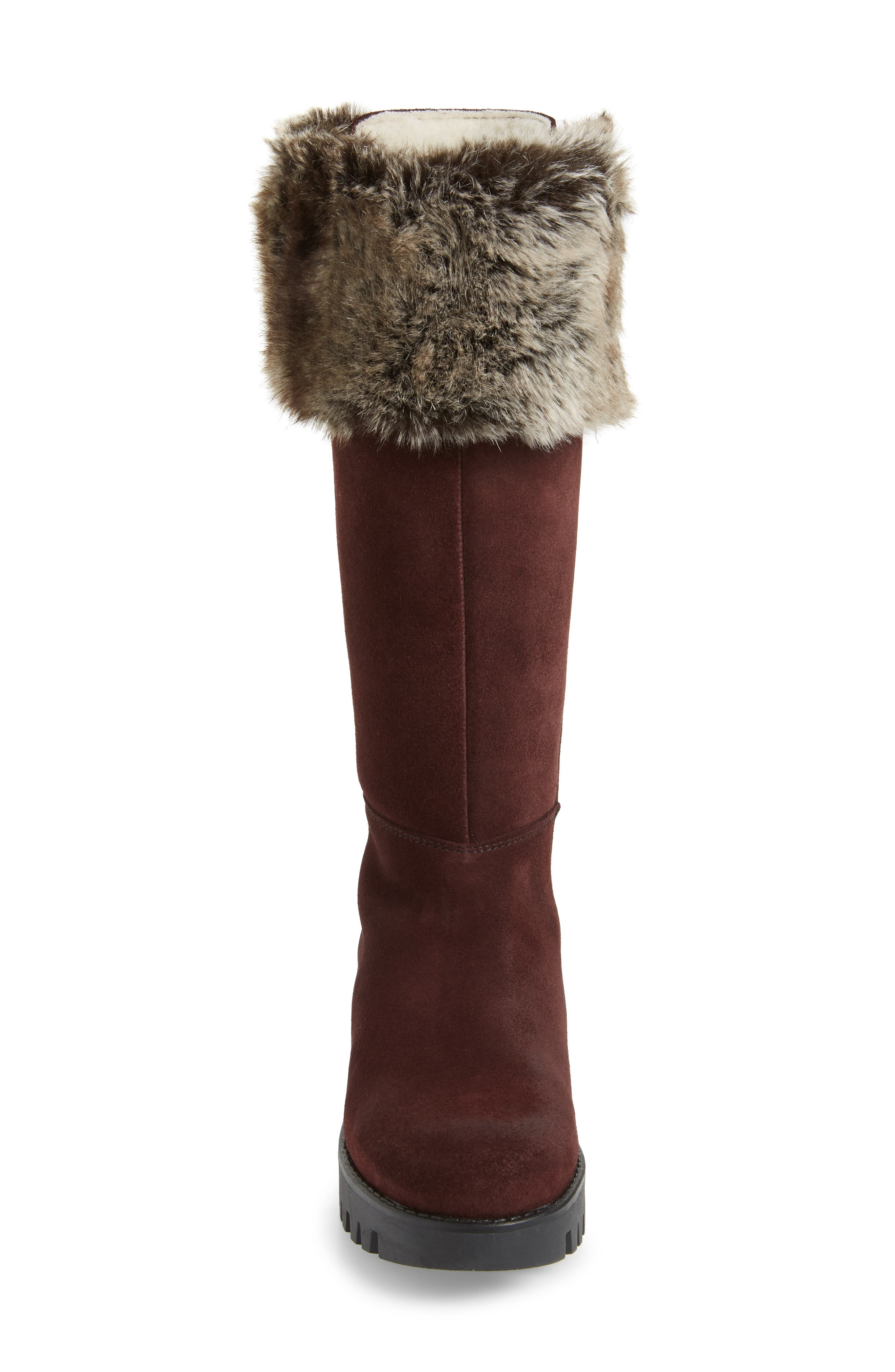 Graham Waterproof Winter Boot with Faux Fur Cuff,                             Alternate thumbnail 3, color,                             Wine Suede