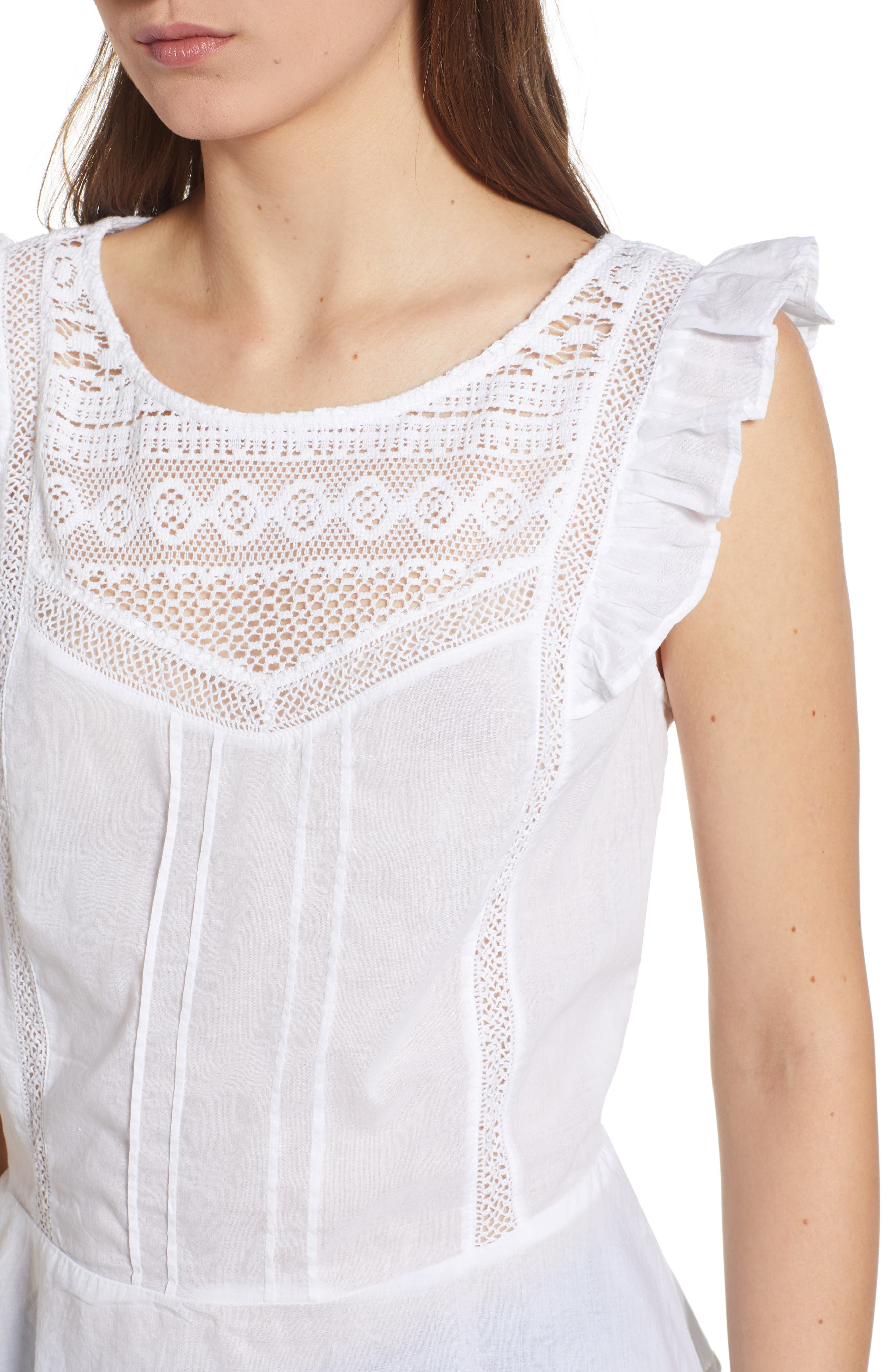 Mixed Lace Peplum Top,                             Alternate thumbnail 4, color,                             White