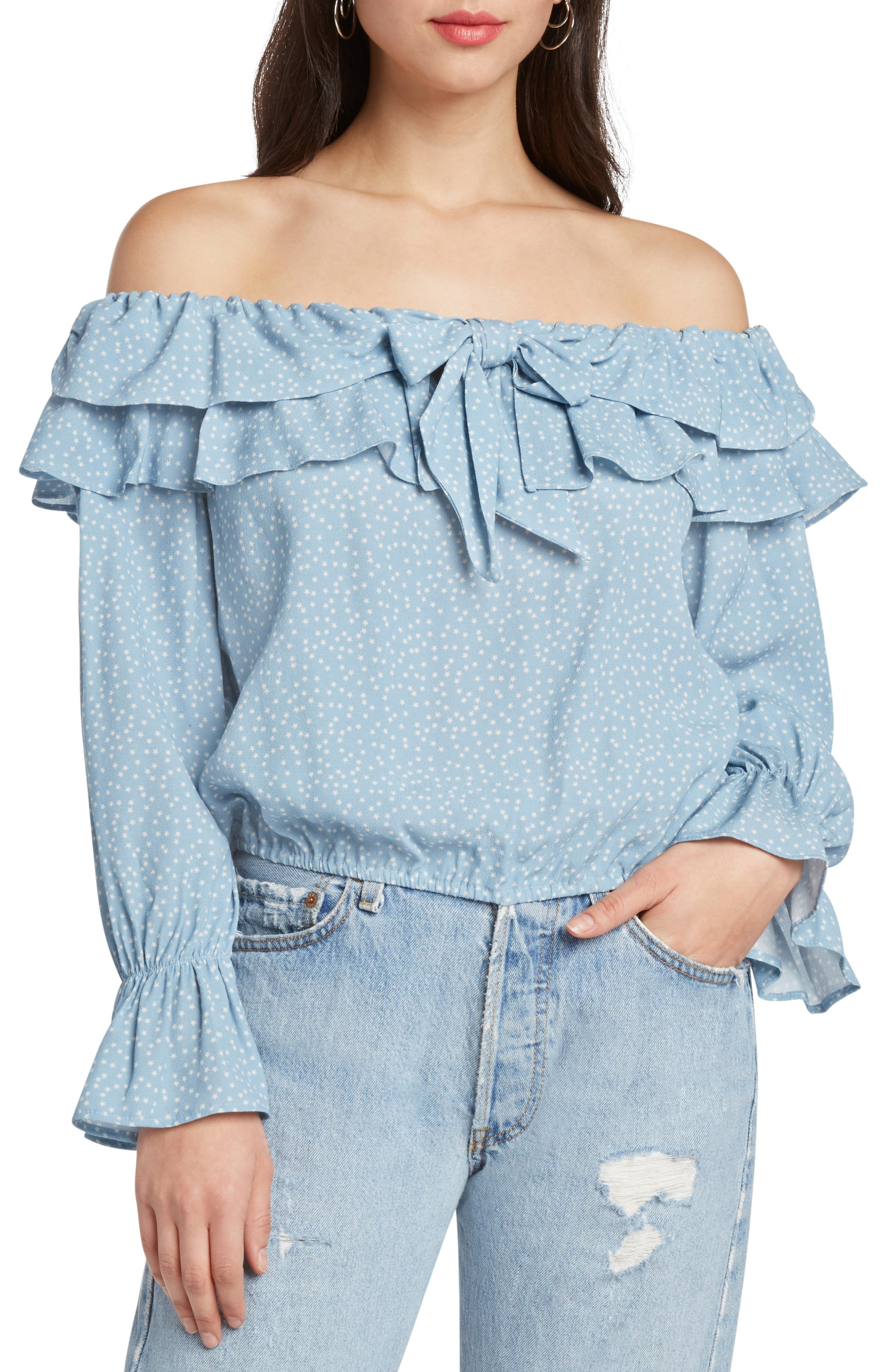 WILLOW & CLAY STAR PRINT OFF THE SHOULDER TOP