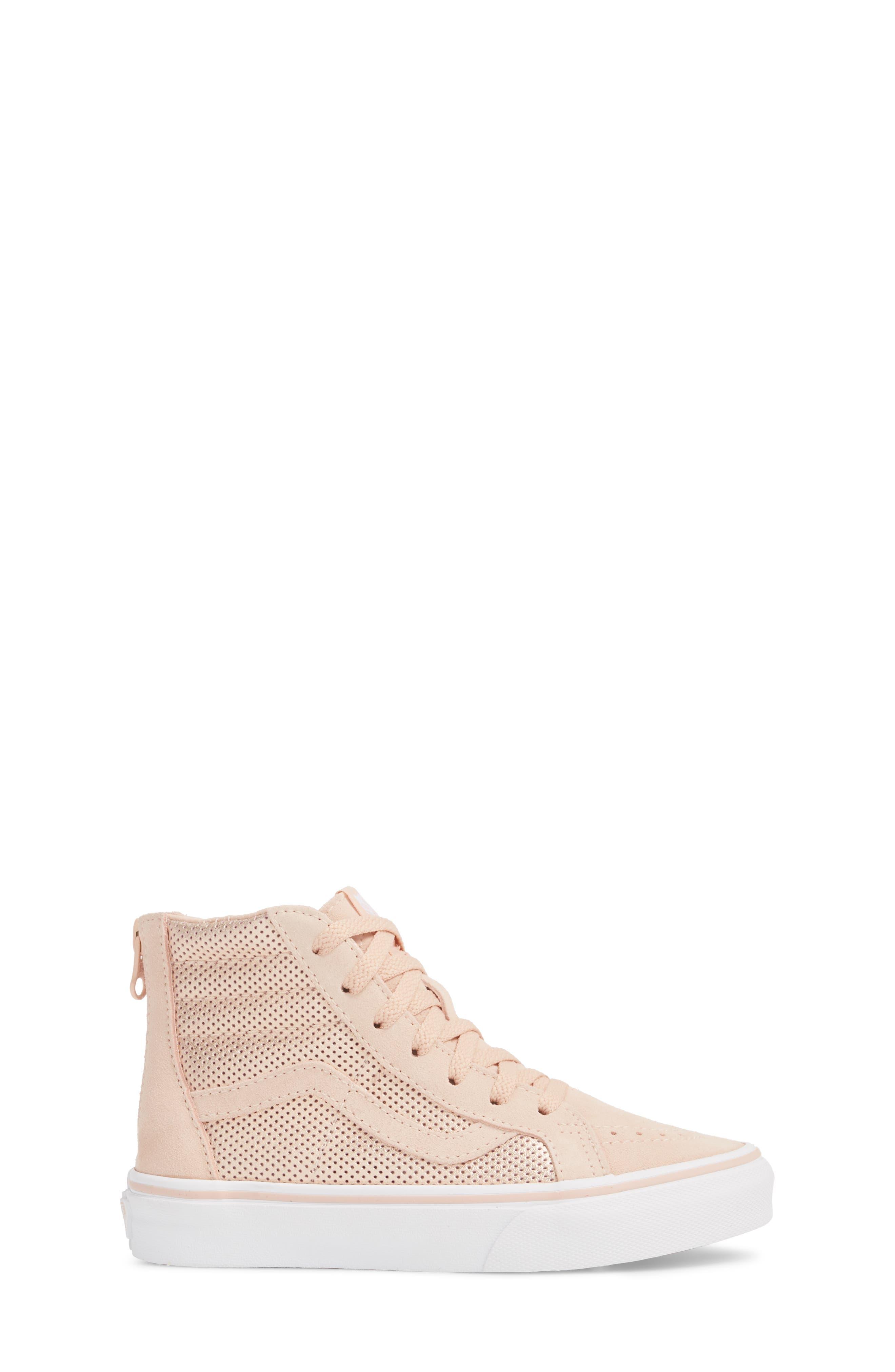 SK8-Hi Zip Sneaker,                             Alternate thumbnail 3, color,                             Rose Gold Suede Leather