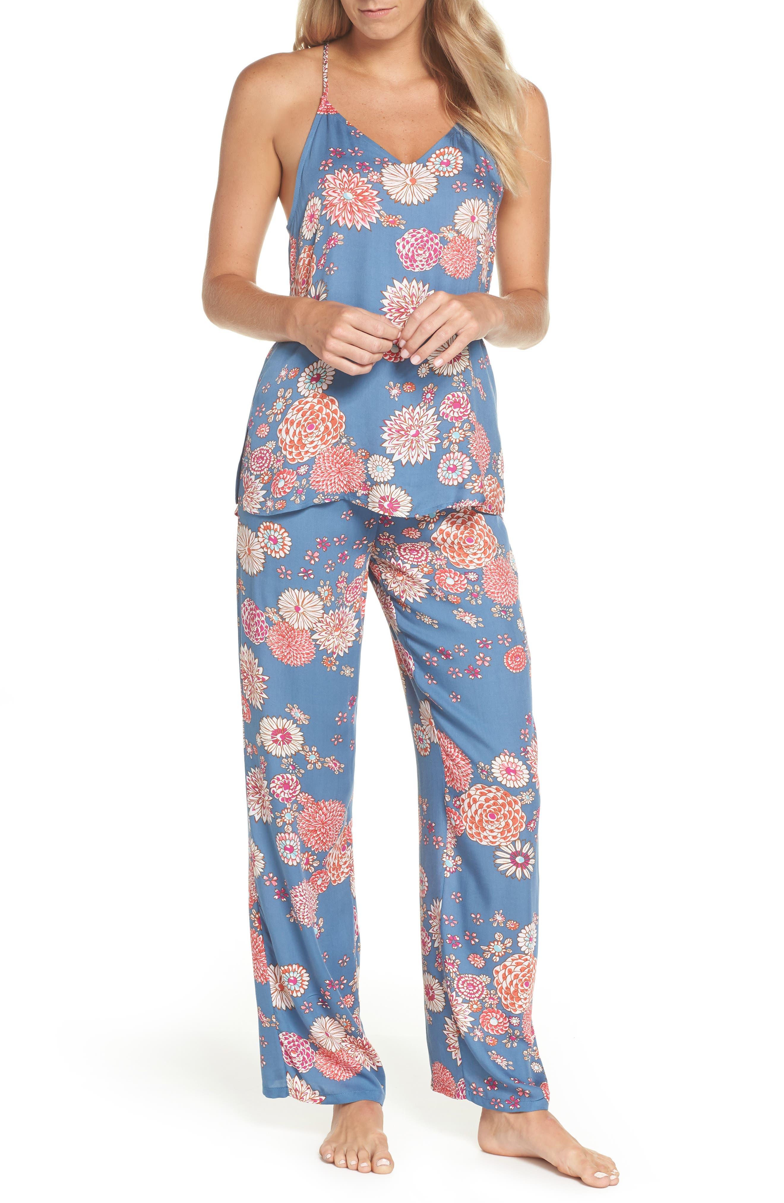 Floral Pajamas,                             Main thumbnail 1, color,                             Steallar Blue