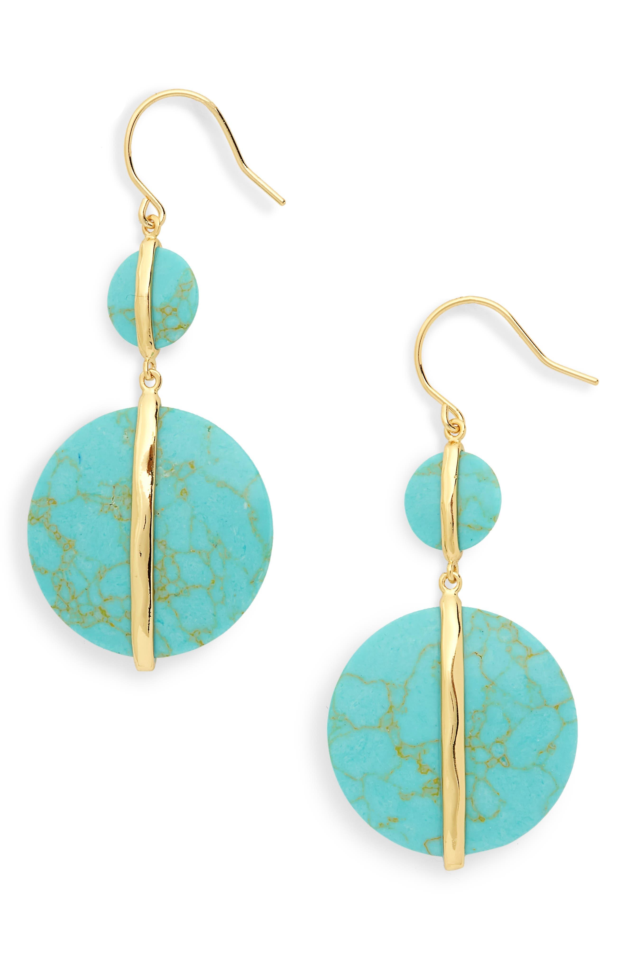 Brinn Drop Earrings,                         Main,                         color, Green Turquoise