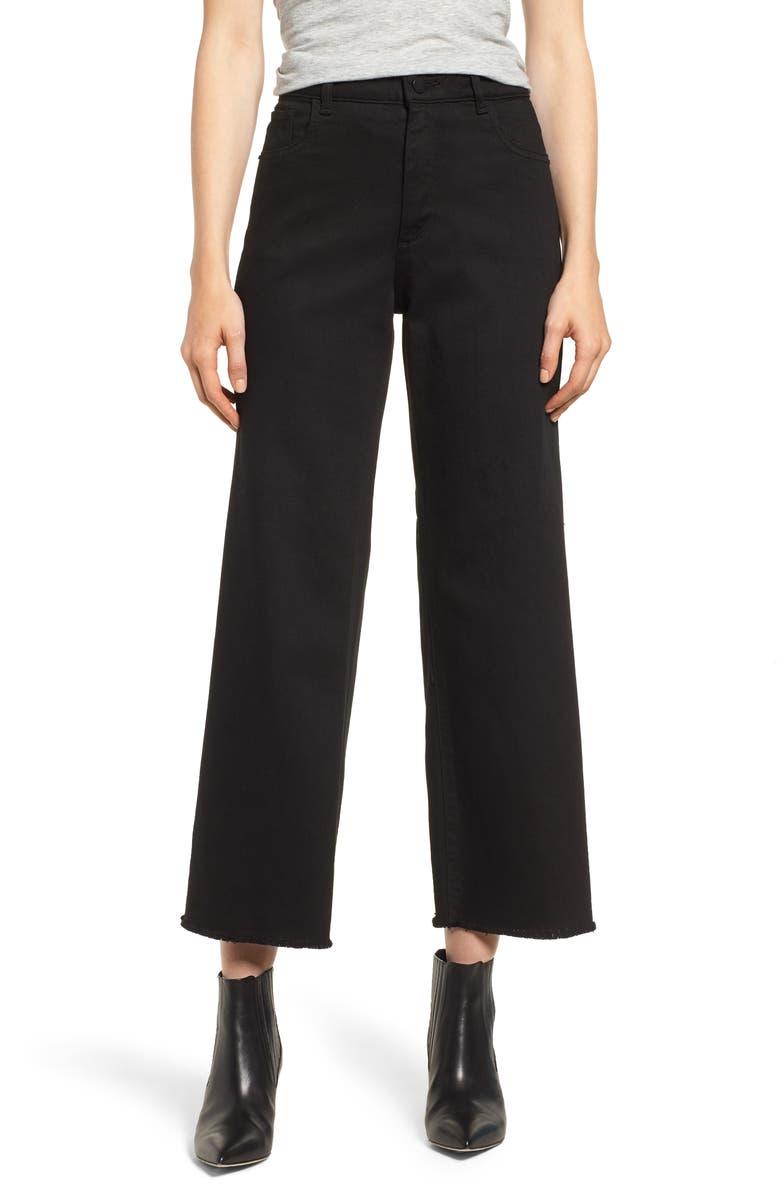Hepburn High Waist Raw Hem Wide Leg Jeans