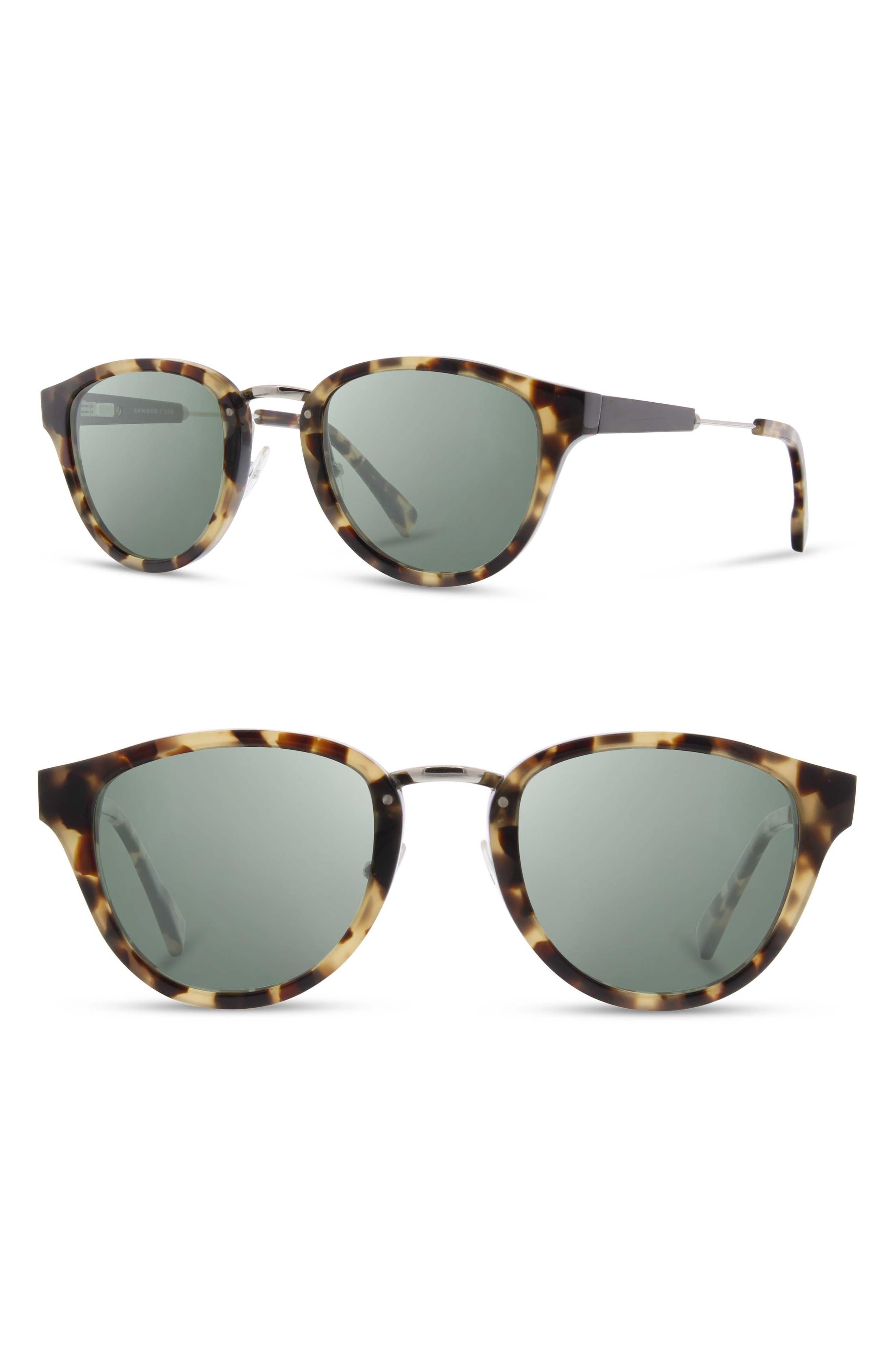 SHWOOD 'Ainsworth' 49Mm Polarized Sunglasses - Havana/ Silver/ G15