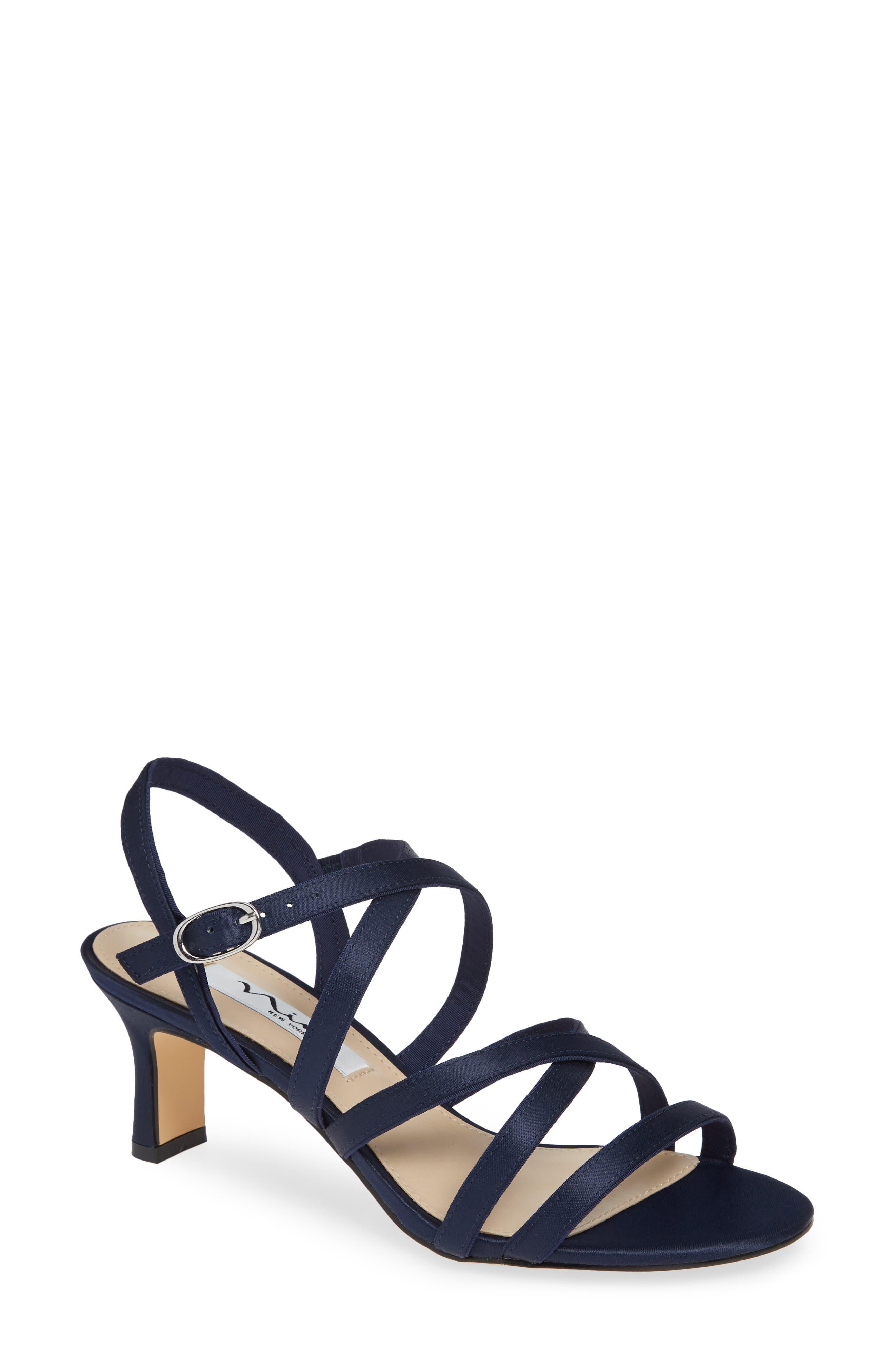 Genaya Strappy Evening Sandal,                             Main thumbnail 1, color,                             Navy Satin