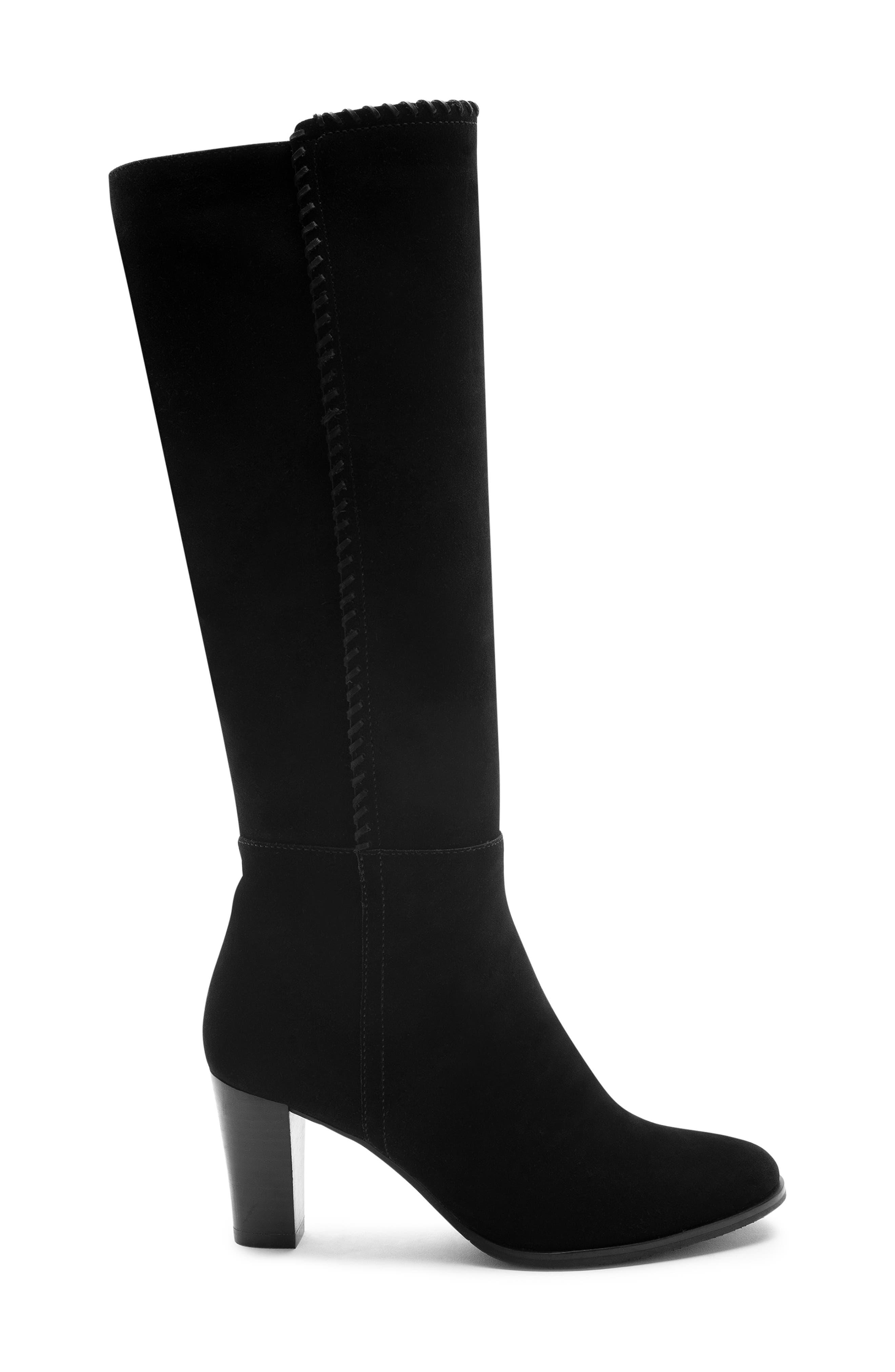 Edith Knee-High Waterproof Suede Boot,                             Alternate thumbnail 3, color,                             Black Suede