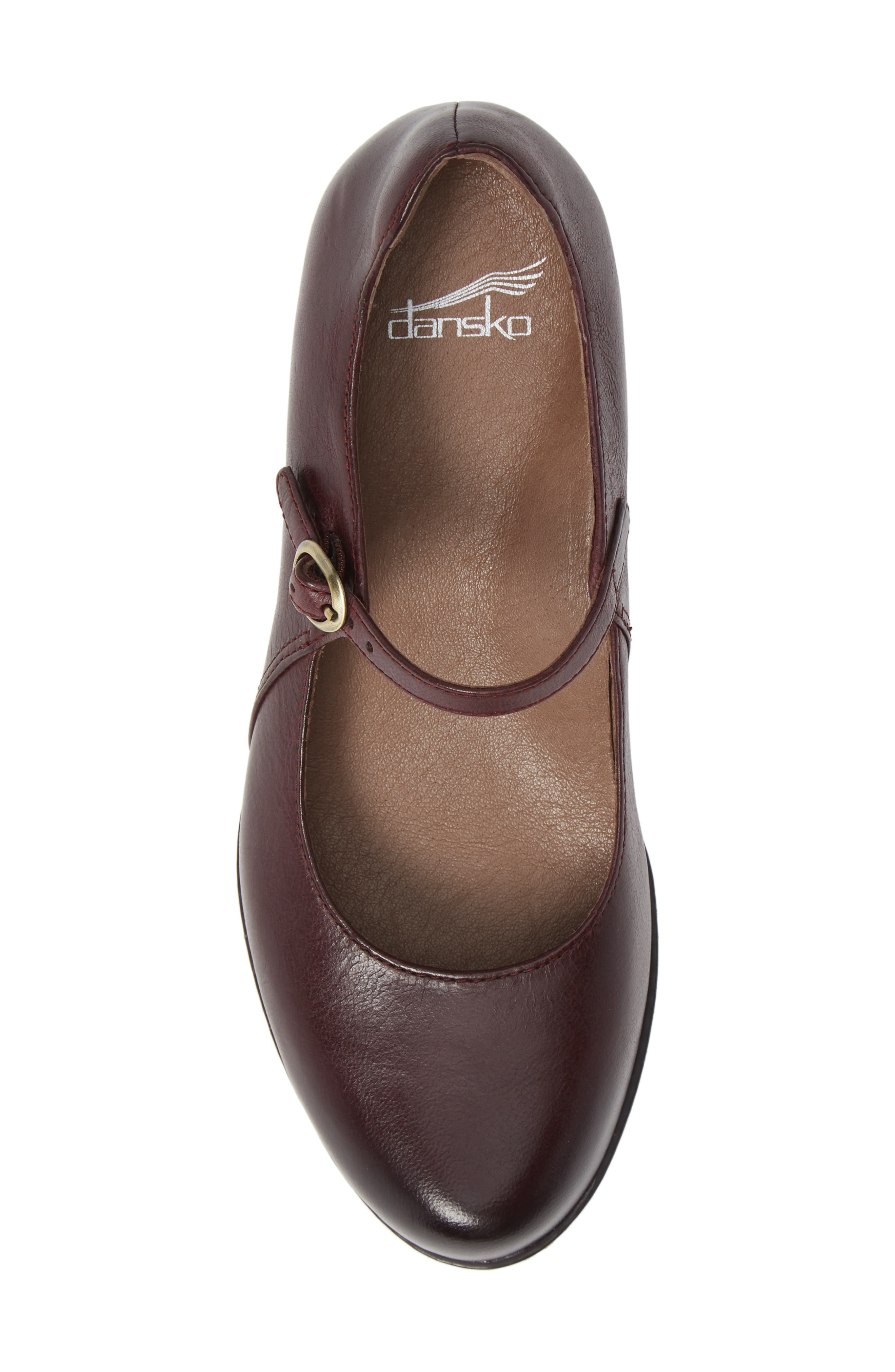 Loralie Mary Jane Wedge,                             Alternate thumbnail 5, color,                             Wine Burnished Leather