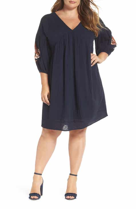 Caslon® Embroidered Puff Sleeve Dress (Plus Size)