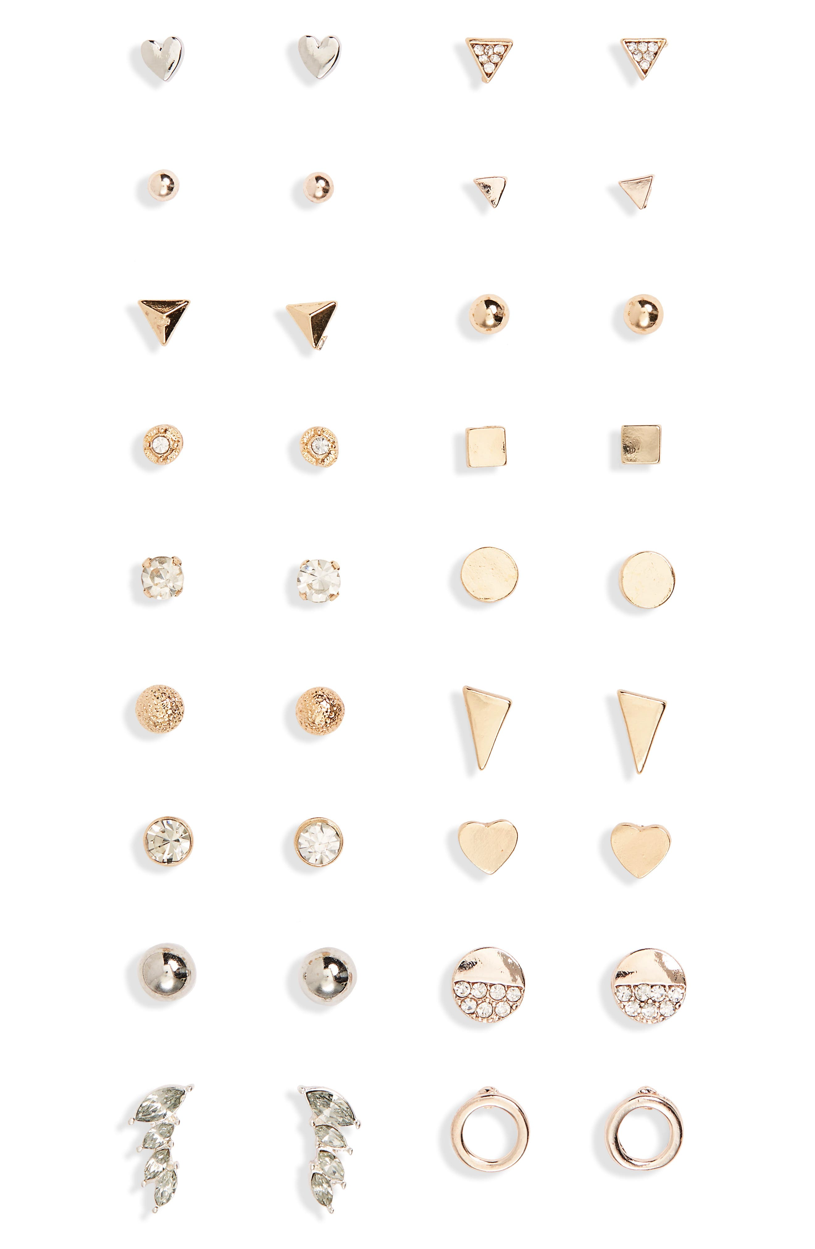 18-Pack Earrings,                         Main,                         color, Gold/ Crystal