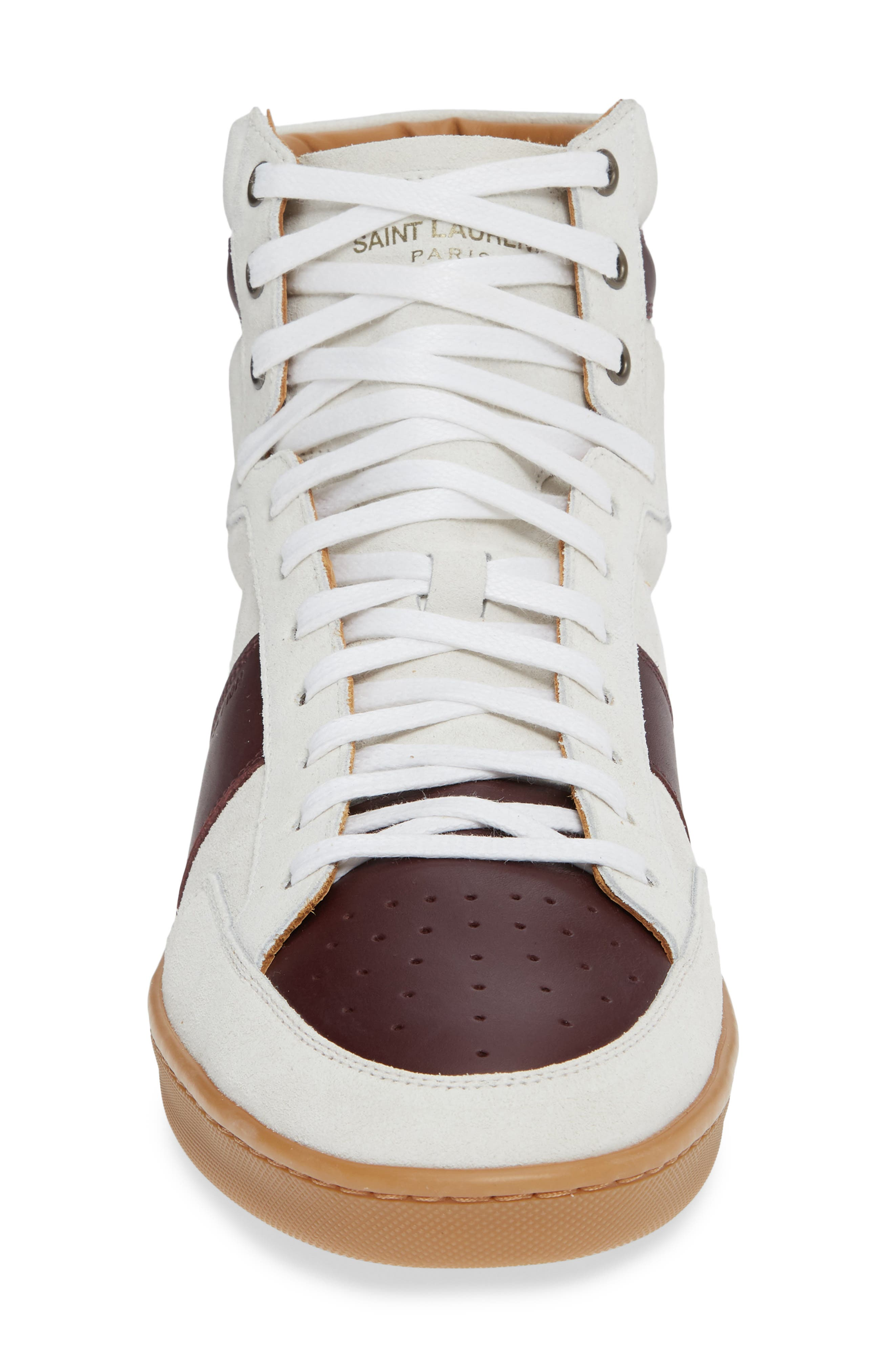 SL/10H Signature Court Classic High-Top Sneaker,                             Alternate thumbnail 4, color,                             Milk/ Barolo