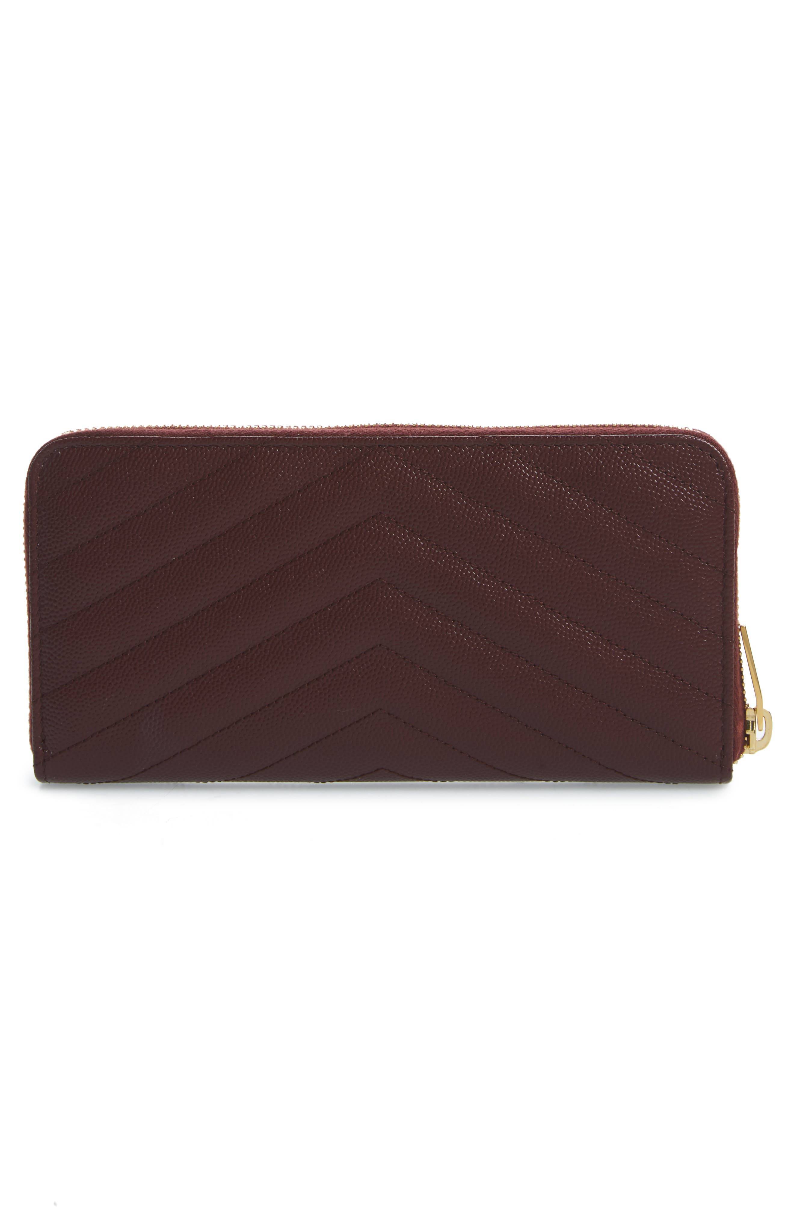 'Monogram' Quilted Leather Wallet,                             Alternate thumbnail 4, color,                             Rouge Legion