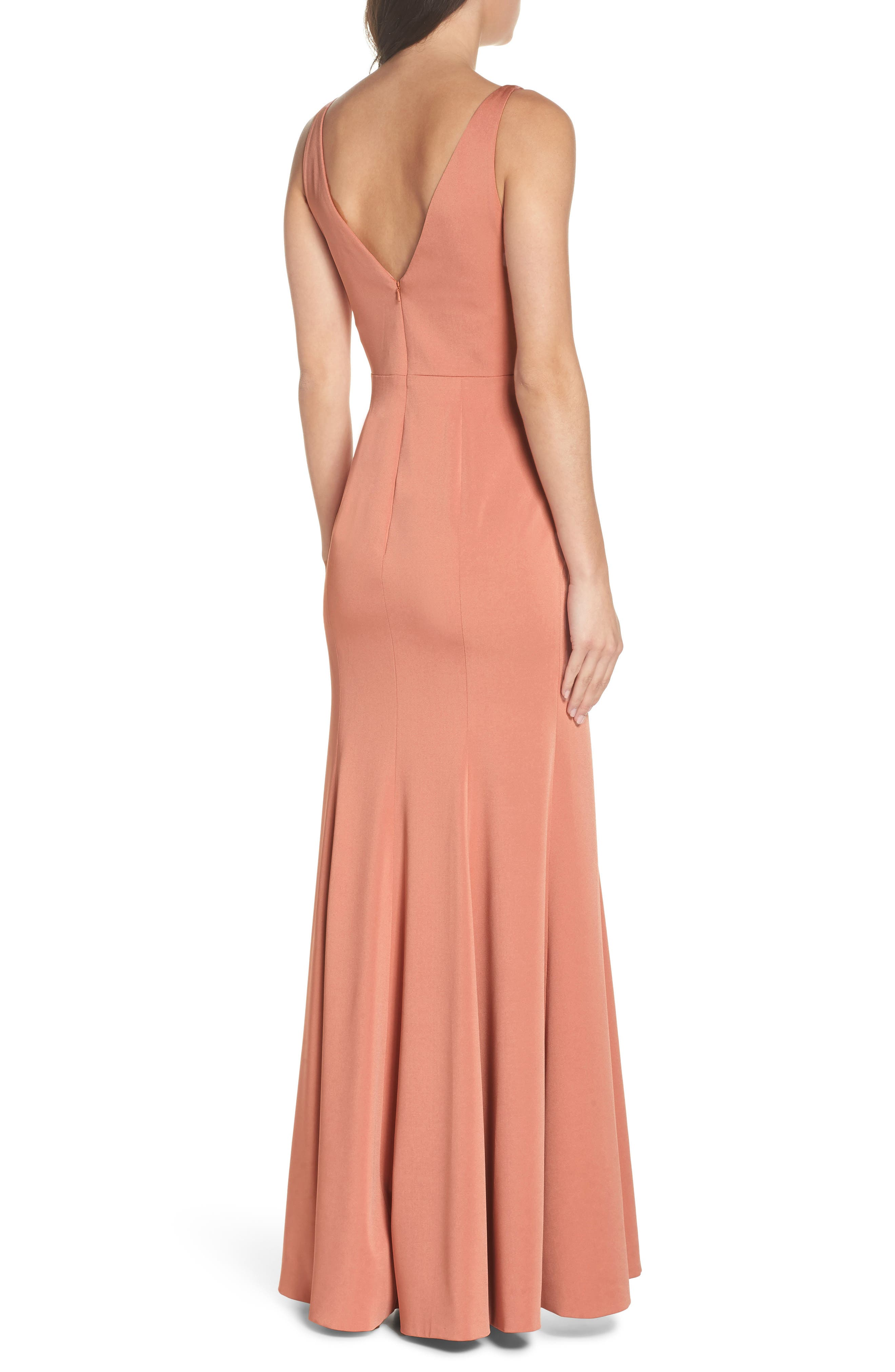 Jade Luxe Crepe V-Neck Gown,                             Alternate thumbnail 2, color,                             Sedona Sunset