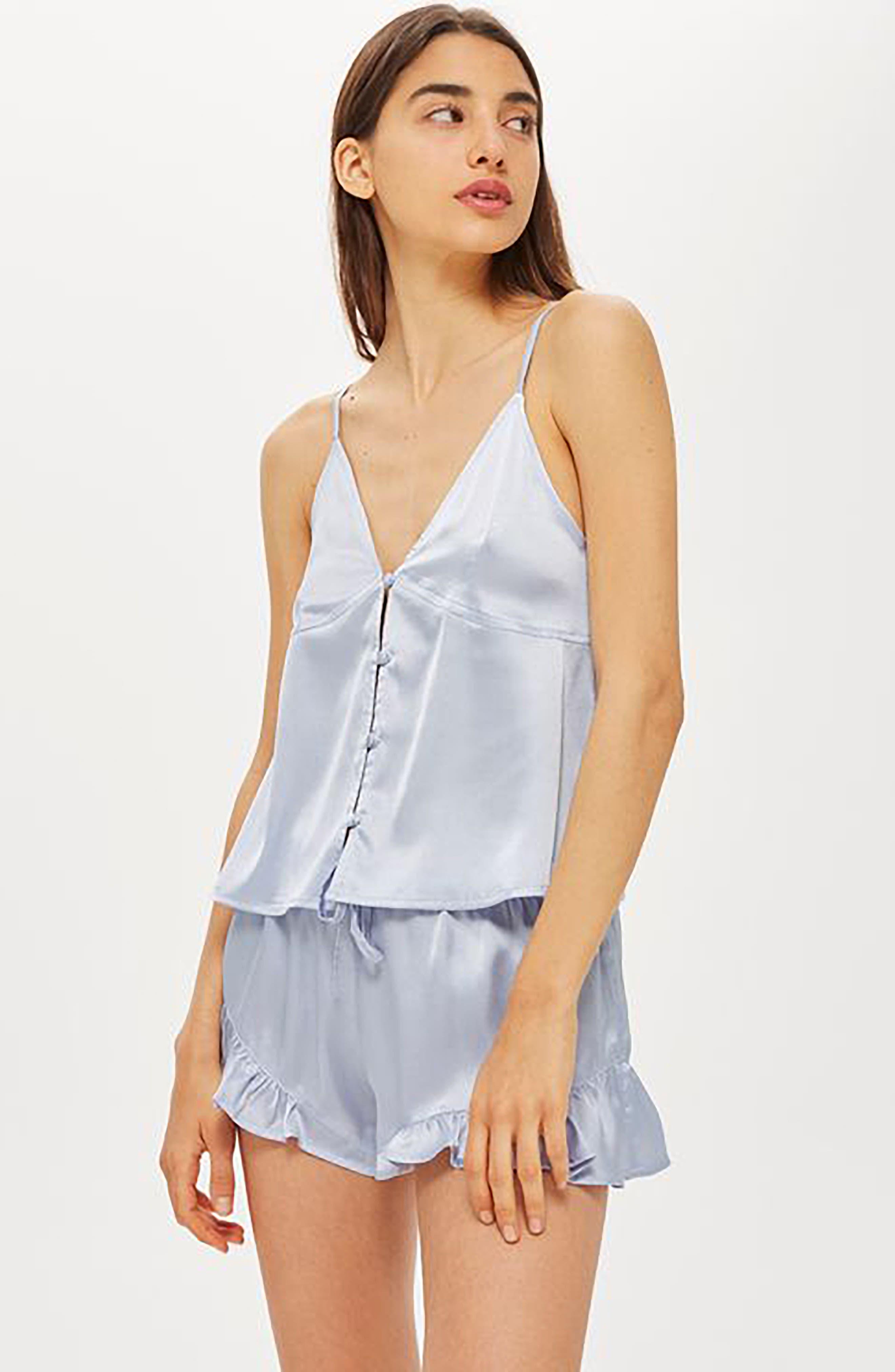 Lucina Satin Short Pajamas,                             Alternate thumbnail 3, color,                             Light Blue