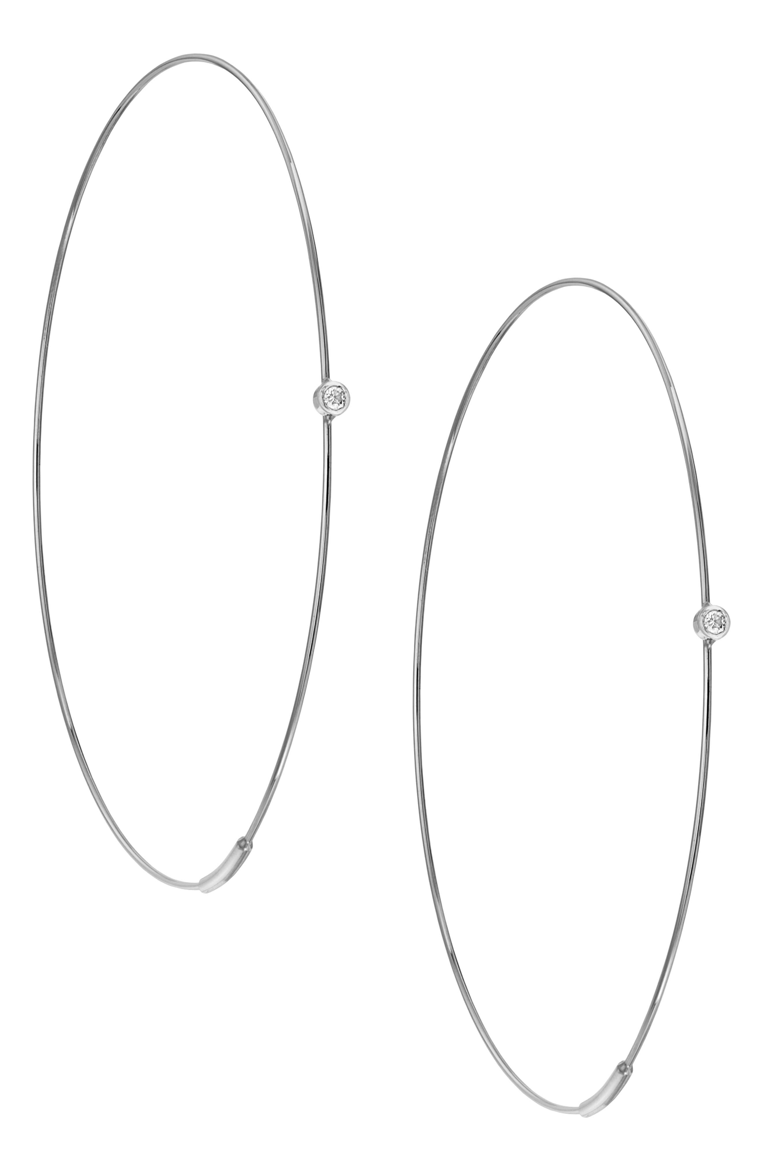 LANA JEWELRY LARGE MAGIC HOOP DIAMOND EARRINGS