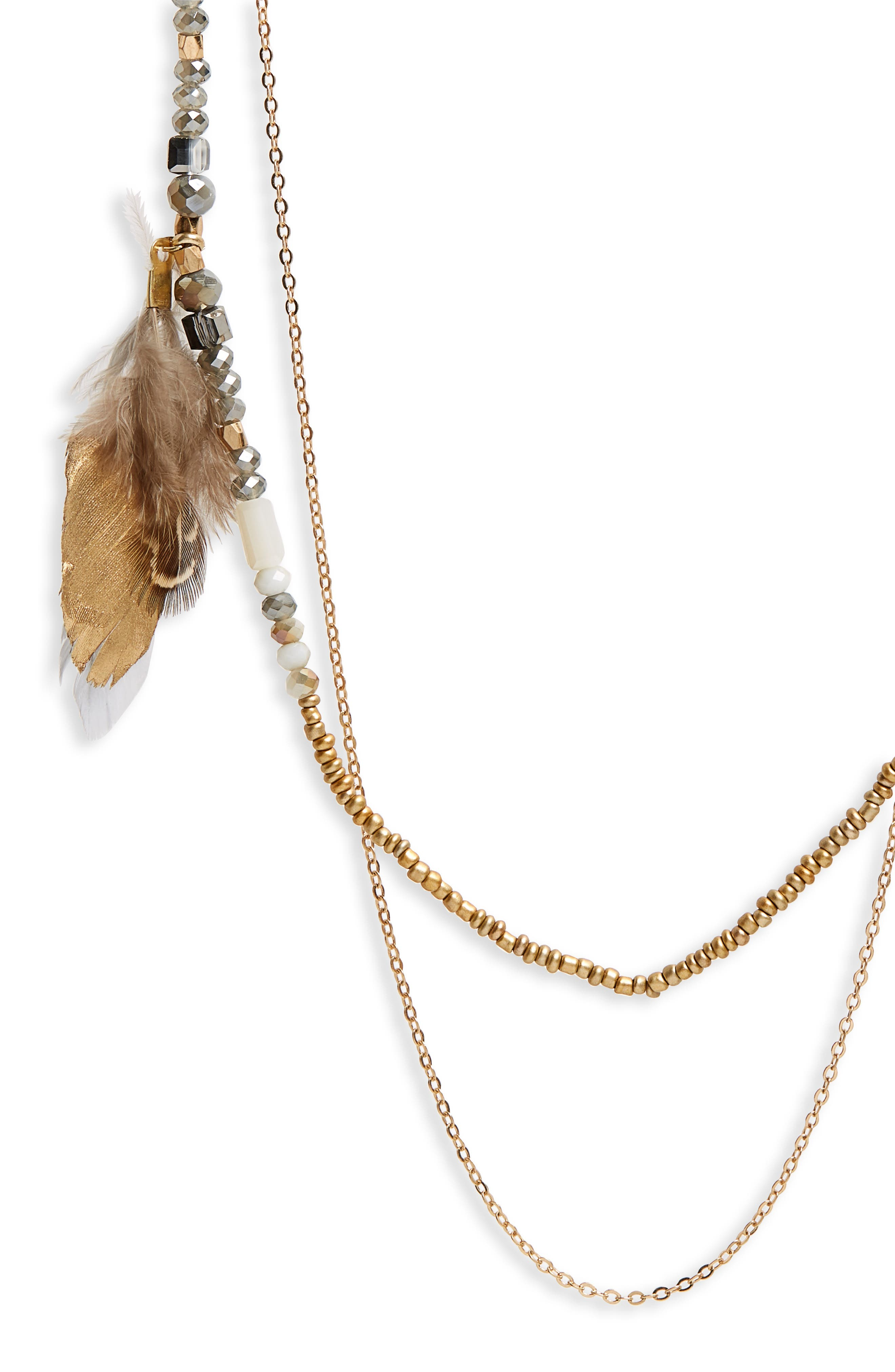 Double Layer Feather Necklace,                             Alternate thumbnail 2, color,                             Grey