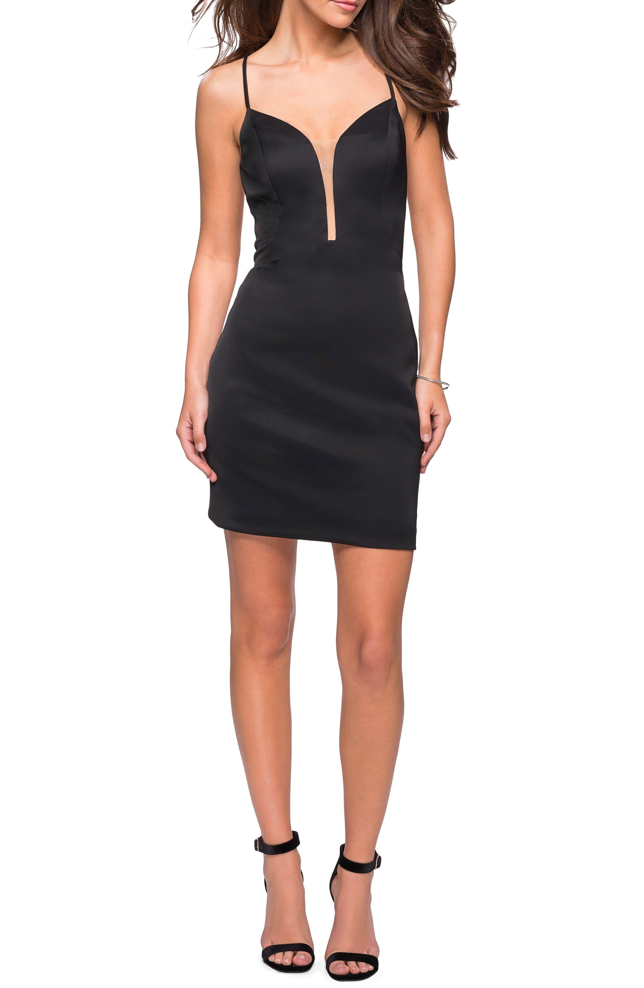 LA FEMME Strappy Back Satin Party Dress in Black