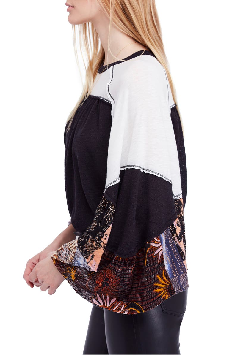 We the Free by Free People Friday Fever Pattern Mix Top,                         Alternate,                         color, Black