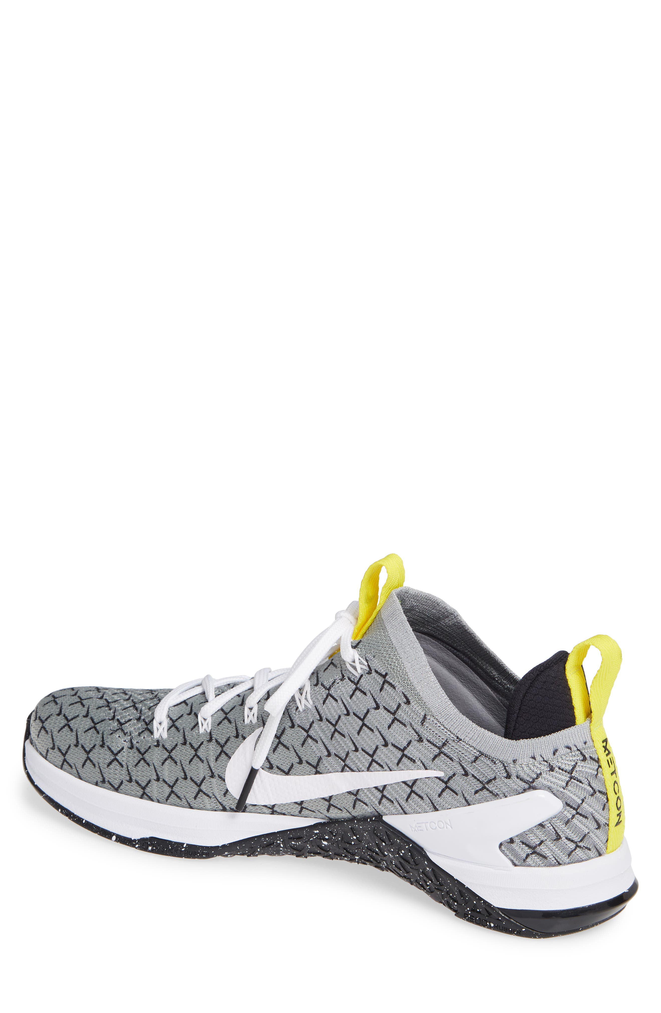 Metcon DSX Flyknit 2 Training Shoe,                             Alternate thumbnail 2, color,                             Black/ White/ Yellow